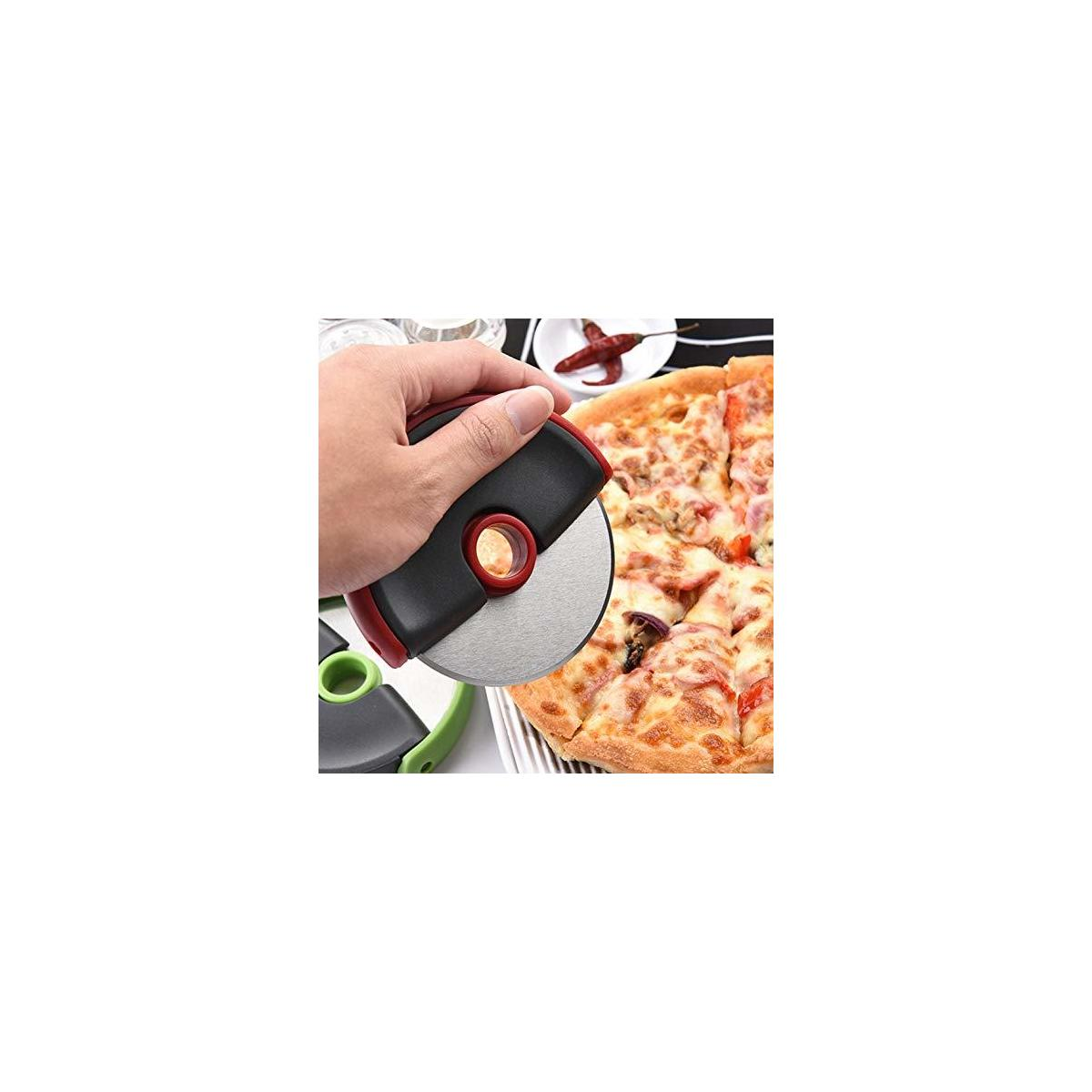 Stainless Steel Pizza Cutter Wheel, Slicer with Protective Blade Cover Guard, Ideal Kitchen/Household Gadget -Super Sharp, Durable, Easy Cleanup, (Fire Red)
