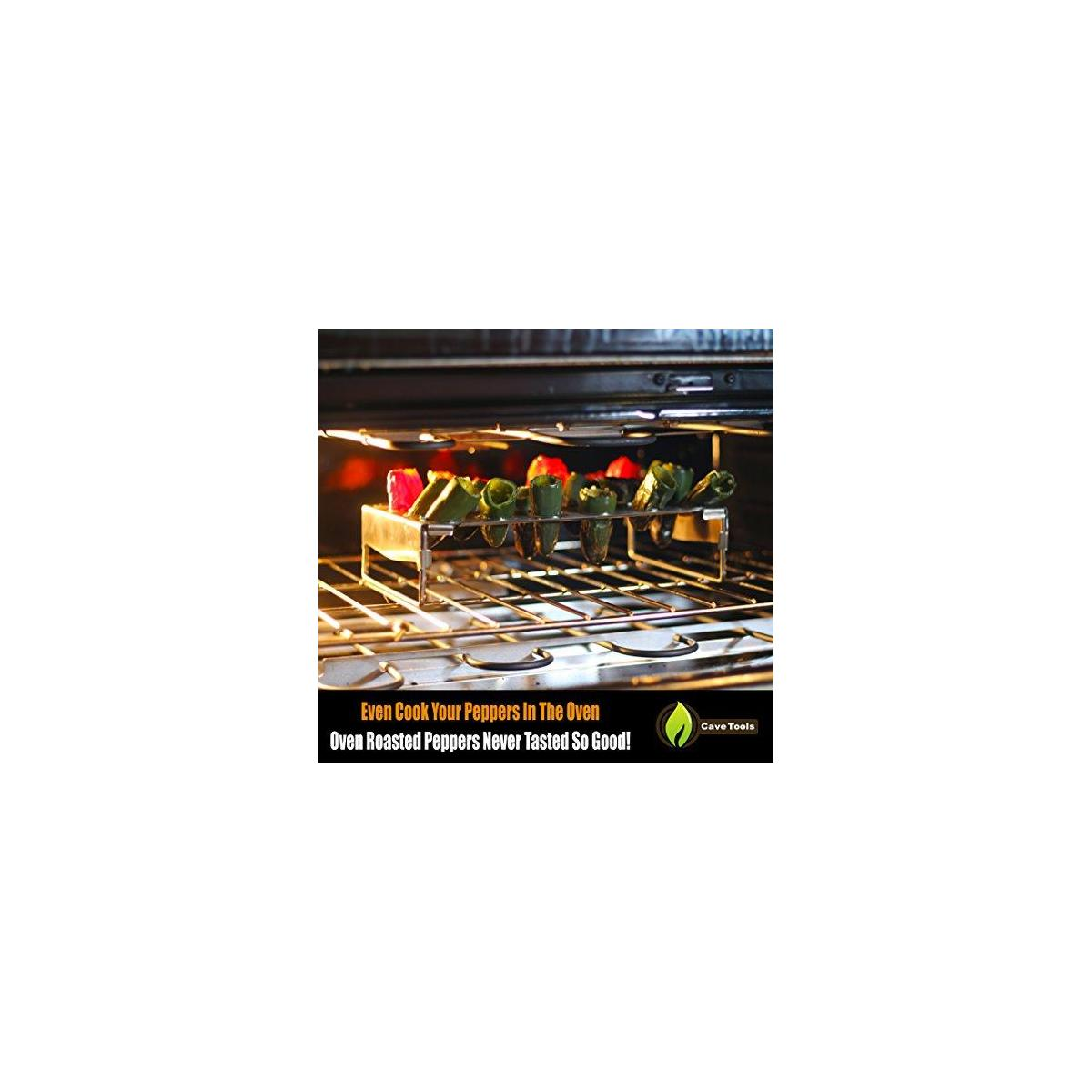 BBQ Skewers (10) Extra Long + Jalapeno Grill Rack & Pepper Corer Tool - Large 24 Capacity Roaster - Holder Also for Cooking Chili Chicken Legs & Wings - Dishwasher Safe Stainless Steel Accessories