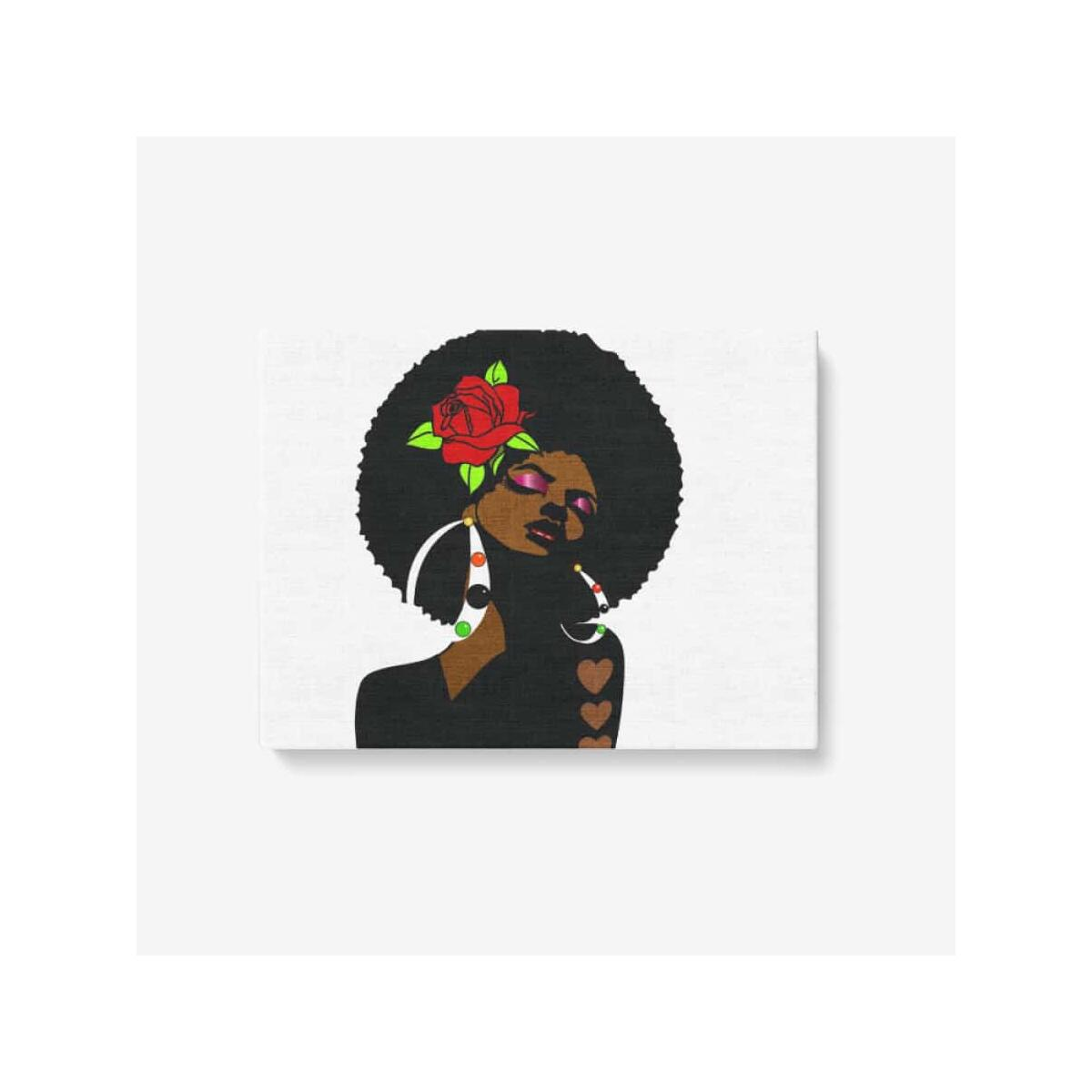 Black Afro Girl With a Red Rose Wall Art