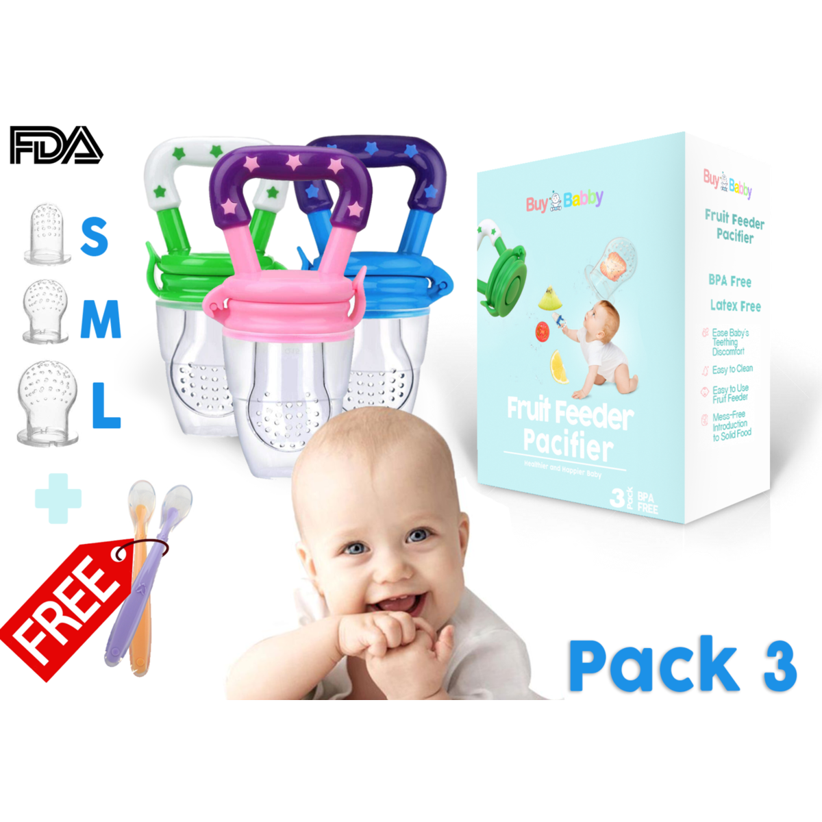 Baby Fresh Fruit Feeder Mills Push Chew Kit Spoon Feeding Food Chew Nutrition Vegetable Bite Pacifier Infant Teething Toy Teether Silicone Pouches for Toddlers