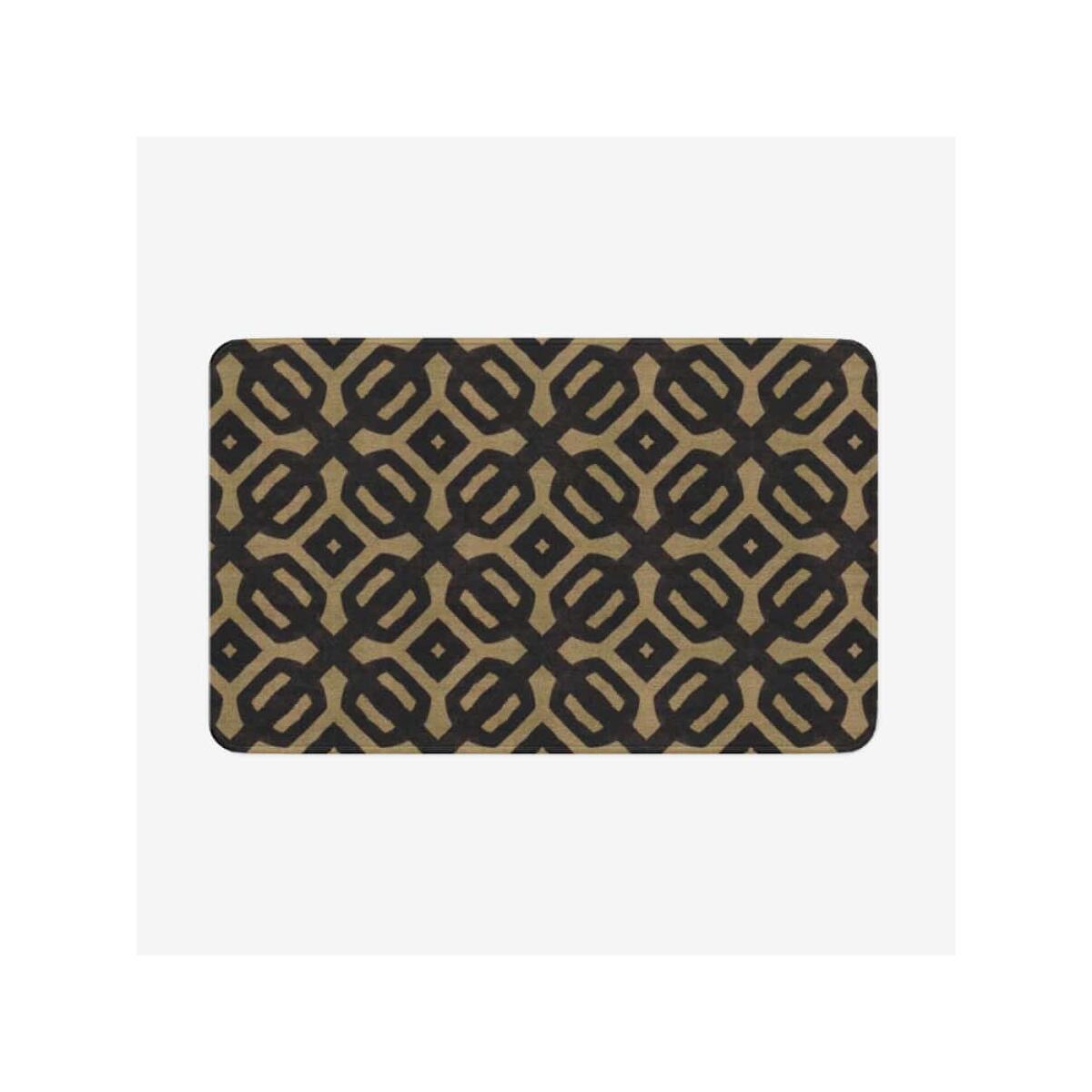Brown Black Bogolan Microfiber Chevron Non-Slip Soft Kitchen Mat Bath Rug Doormat, 18'' x 30''
