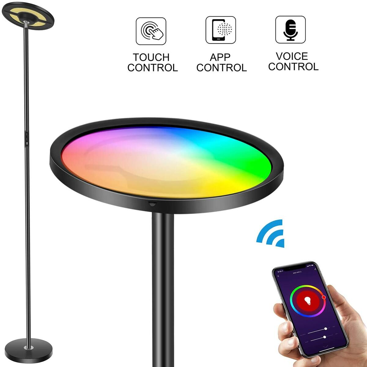 Wixann Smart Led Floor Lamp - WiFi Torchiere Floor Lamp Work with Alexa Google Home, 2000LM Super Bright Dimmable Color Changing Modern Standing Lamp for Living Rooms Bedroom Offices - Black