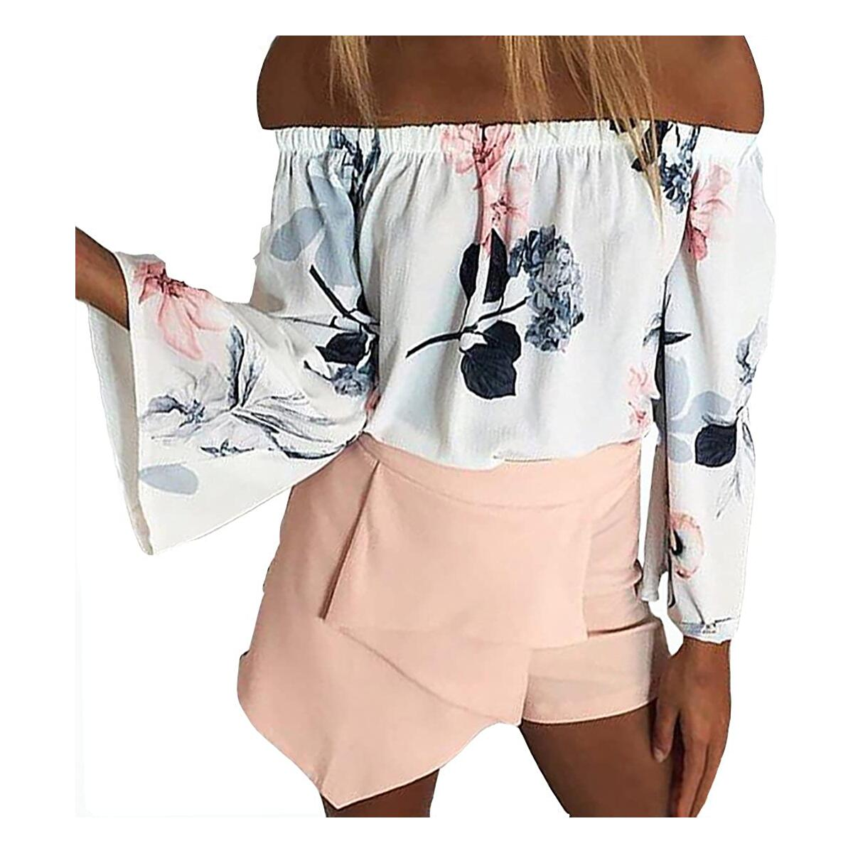 Minipeach Women's Shirts Sexy Floral Print Off Shoulder Bell Sleeve Shirts Casual Strapless Blouse Tops