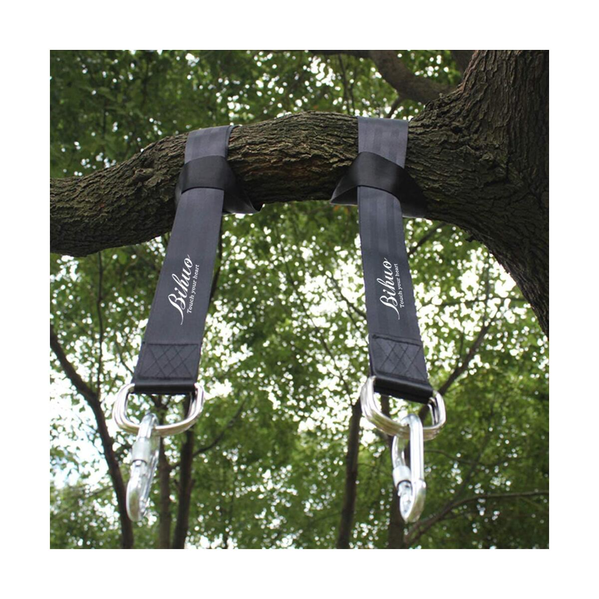 Tree Swing Hanging Straps Kit - Holds 2000 lbs, 5ft Long Straps with 2 Tree Protectors & 2 Safer Lock Snap Carabiner Hooks Perfect for Tree Swing & Hammocks, Perfect for Swings (4000 Lbs) (Black)