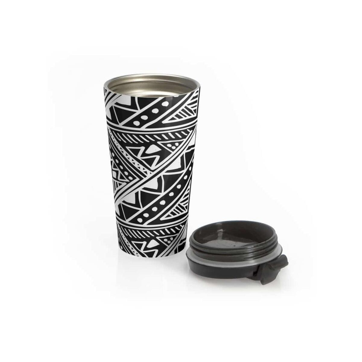White Mud-cloth Stainless Steel Travel Mug, Travel Mug