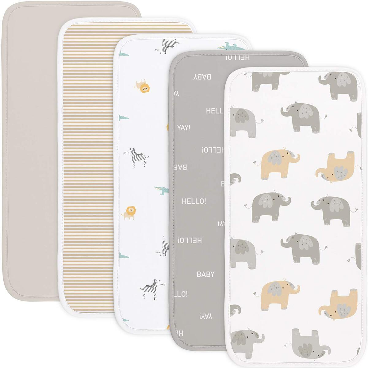 Babebay Burp Cloths for Baby Boys and Girls - Animal Design - 5 Pack 100% Combed Cotton Baby Burp Set, Extra Absorbent & Soft Burping Cloth, Baby Spit Up Cloth, Burp Cloths for Newborn