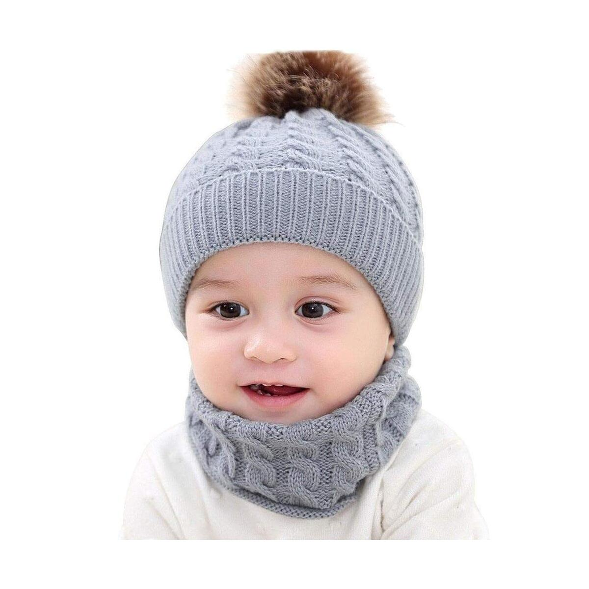Baby Winter Warm Hat and Scarf Set, Beanie Hat with Snood Scarf Neck Warmer