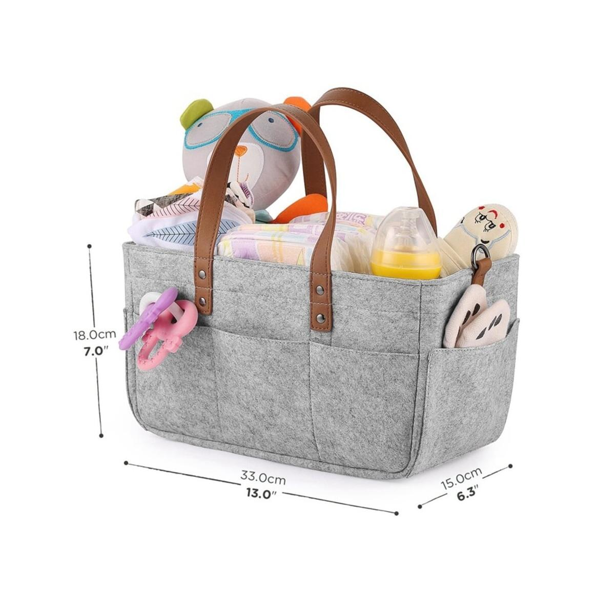 Lightweight Portable Felt Baby Diaper Caddy Organizer Foldable Storage Basket with Changeable Compartments for Newborn