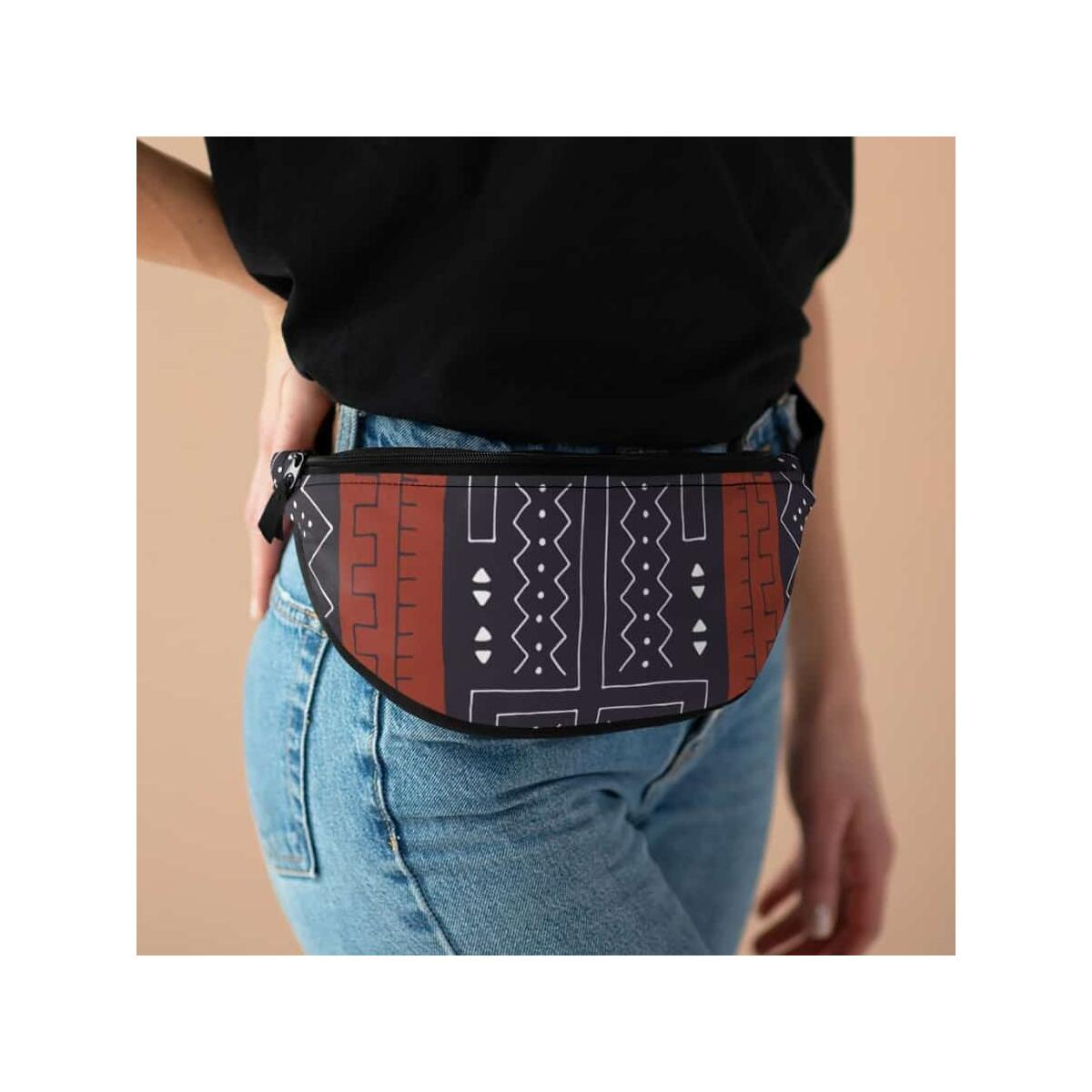 African Bogolan Mud Cloth Fanny Pack, One Size