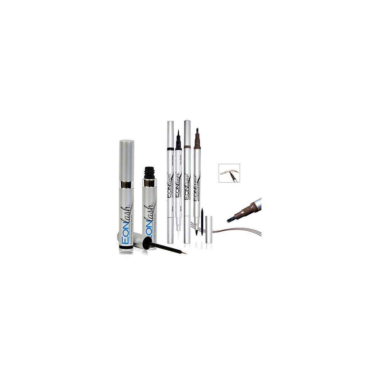 Dual Tip Liquid Eyeliner and Eyebrow Enhancer - Long Lasting | Super Slim | Ultra-Fine Felt Tip Liquid Pen Waterproof Smudge Proof Perfect Makeup, Quick Drying Formula with Eyelash Growth Serum
