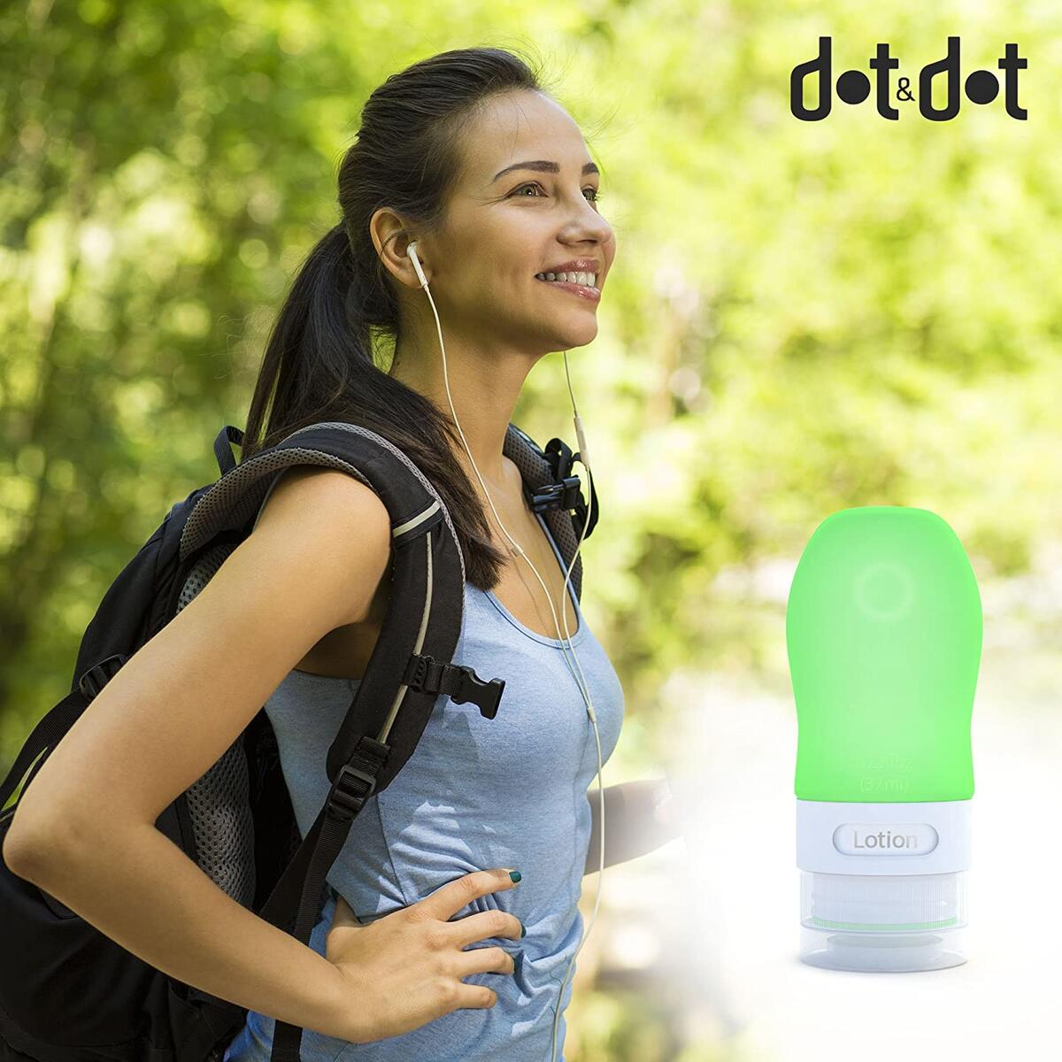 Dot&Dot Travel Bottles - 4 Piece Set of 1.25 oz Leak Proof Travel Containers for Travel Size Toiletries (Green, Pink, Purple, Orange)