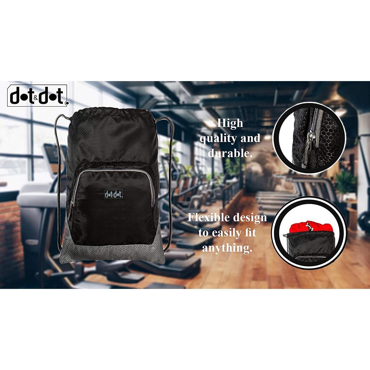 Dot&Dot Packable Drawstring Backpack (18 inch, Black)