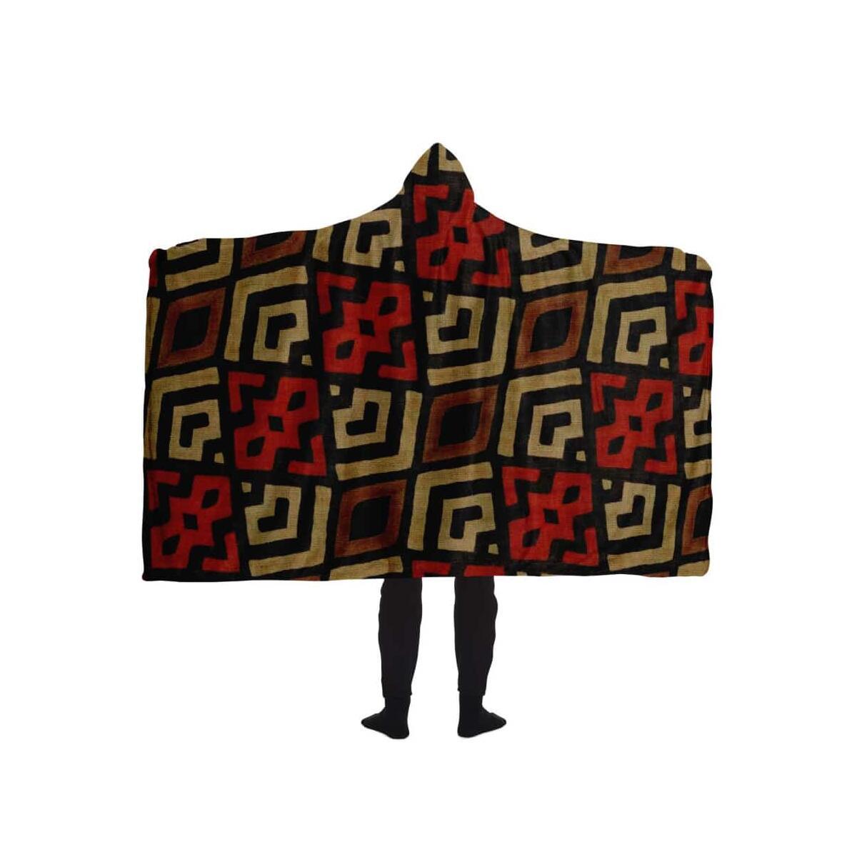 Bogolan Mystic Red Hooded Blanket