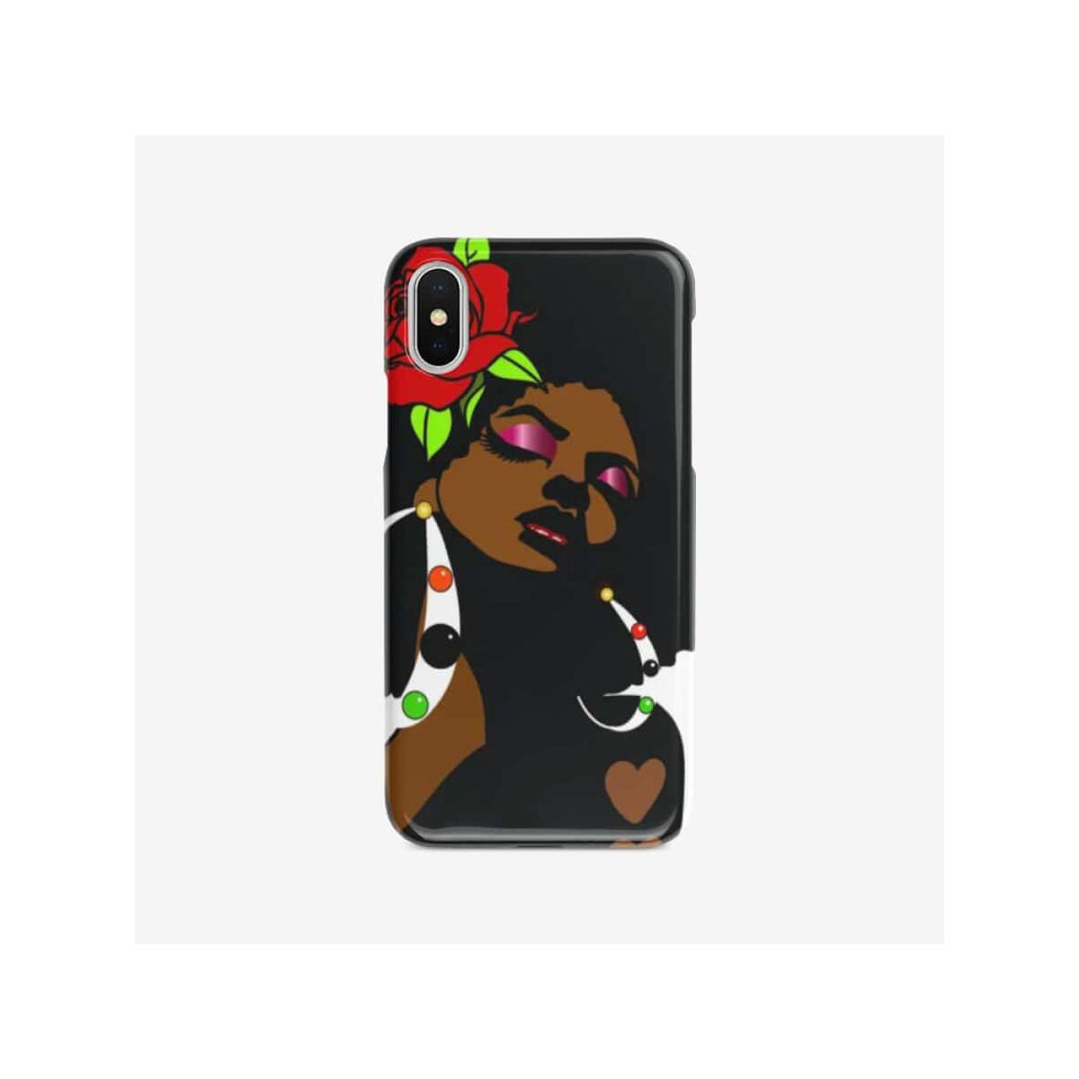 Black Afro Girl With a Red Rose Iphone case, iPhone SE