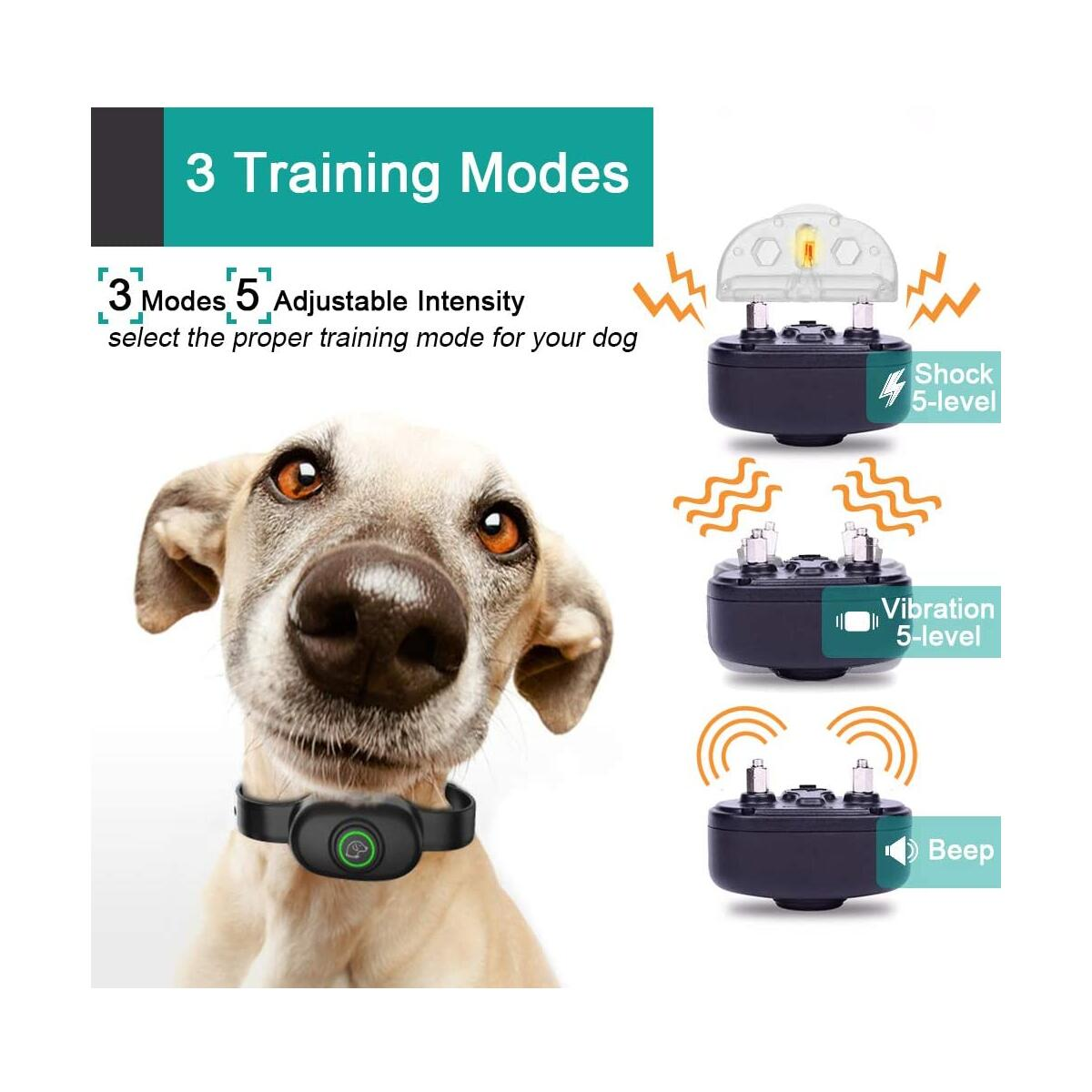 Dog Training Collar, Waterproof Rechargeable 2 Dogs Shock Collar with Remote, 3 Modes Beep Vibration and Shock, up to 1300ft Remote Range Electronic Dog Bark Collars for Small Medium Large Dogs 2 Pack