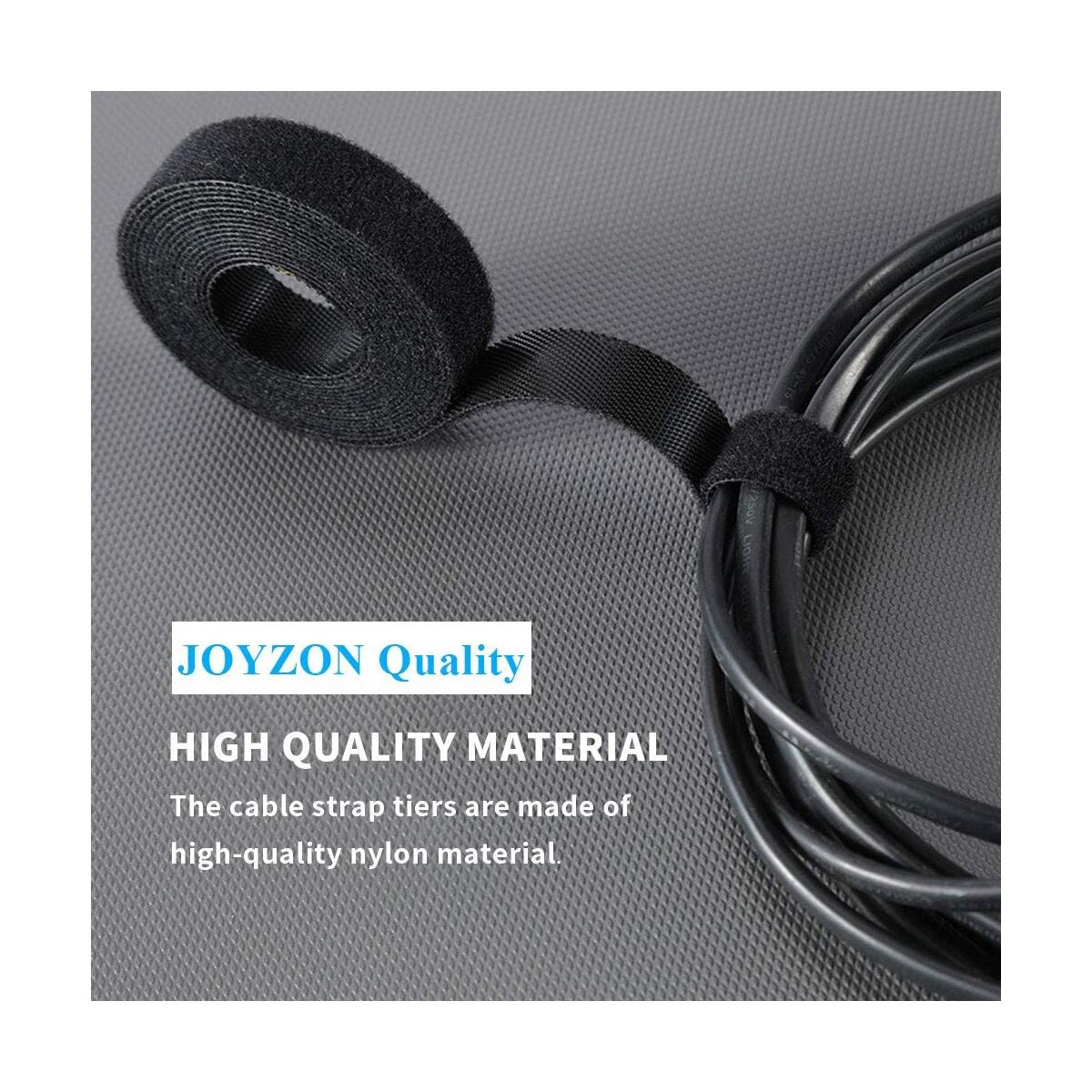 JOYZON Cable Organizer 16.6 ft x 3 Roll Reusable Cable Straps Cable Clips Cable Ties Hook & Black Organizing Cord Organizer Cable Management Loop Nylon Fastening Tape Wire Organizer for Home, Office
