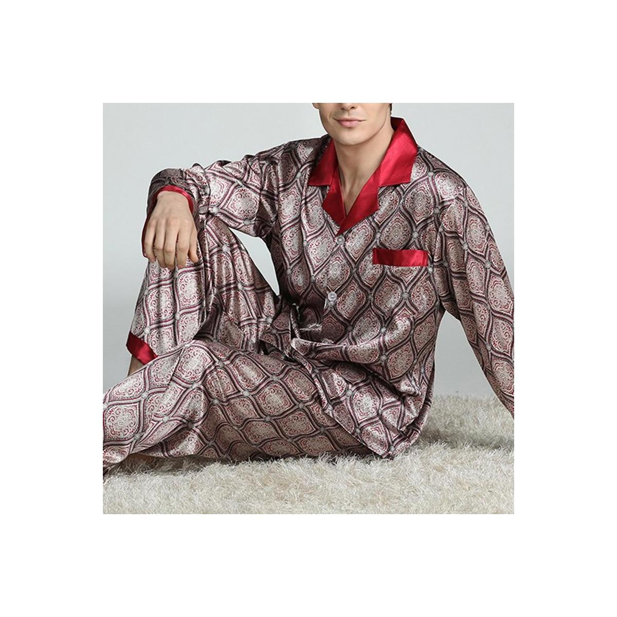 Mens Modern Luxury Print Satin Pajama Sleepwear Set, C / 5XL / China