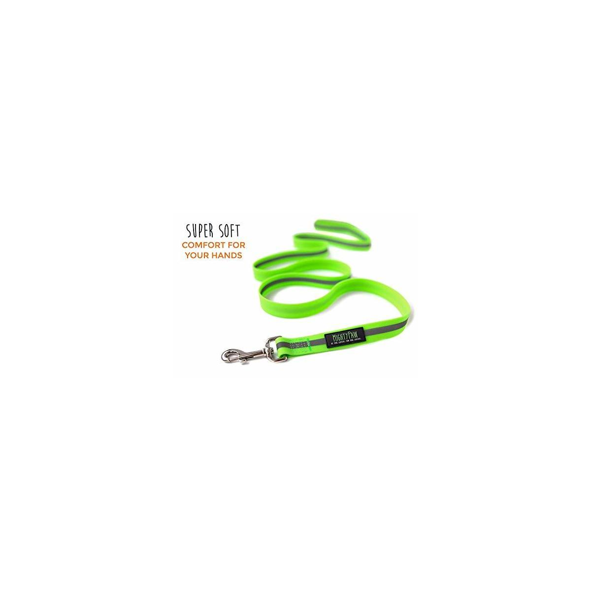 Mighty Paw Waterproof Dog Leash, Smell-Proof Active Dog Gear, Coated Nylon Webbing with Reflective Stripe.