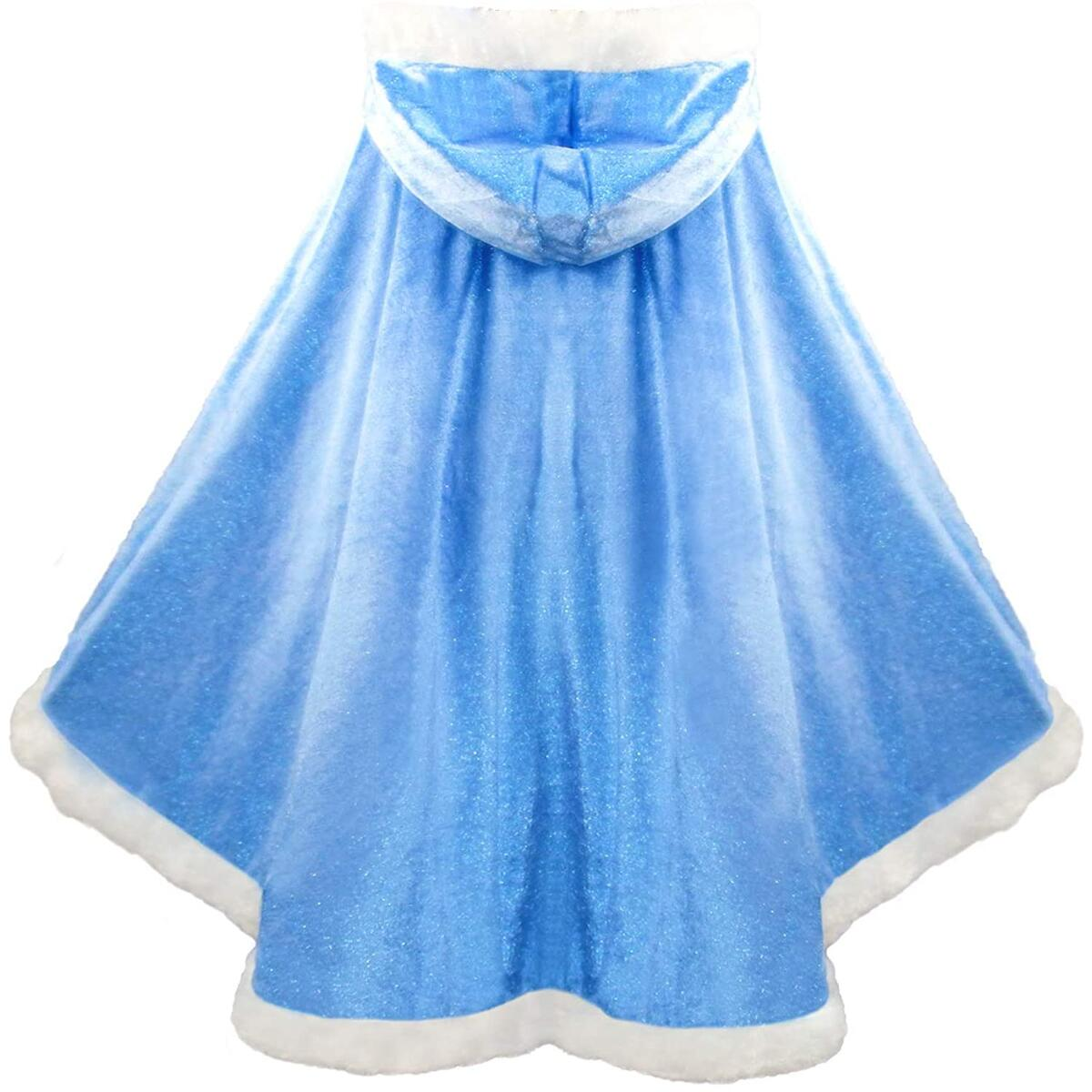 Almce Fur Princess Hooded Cape Cloaks Costume - Birthday Halloween Cosplay for 2-10 Years Girls Dress Up  (Blue, 4-5 Years)