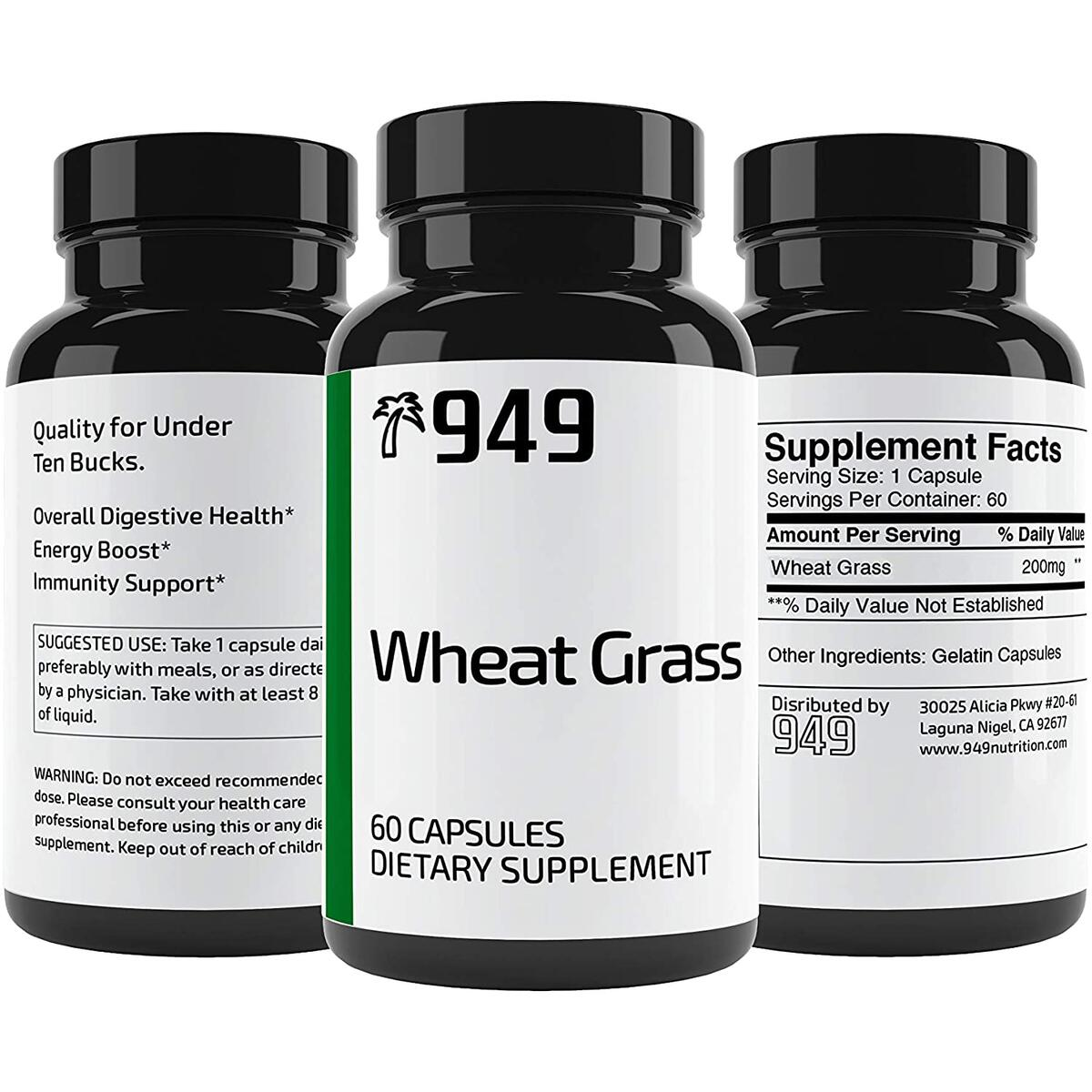 Wheat Grass, Under 10 Dollars, 60 Capsules, Promotes Digestive Health, Natural & Non-Jittery Energy Boost, Made in The USA, Lab-Tested, No Additives or Fillers, Satisfaction 100% Guaranteed, 949