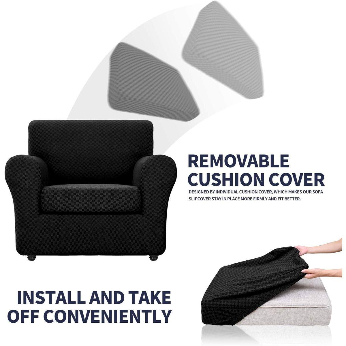 Picture of: Chelzen 3 Piece Loveseat Cover Modern Double Color Couch Covers For 2 Cushion Couch Stretch Linen Like Spandex Sofa Slipcovers Dogs Pets Love Seat Protector Loveseat Black And White Checkered Sofa Slipcovers Slipcovers