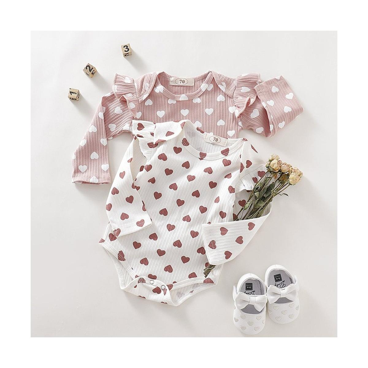 Newborn Baby Girls Clothes Ruffle Heart Print Bodysuit Jumpsuit One Piece Romper Knitted Long Sleeve Clothes Infant Clothing