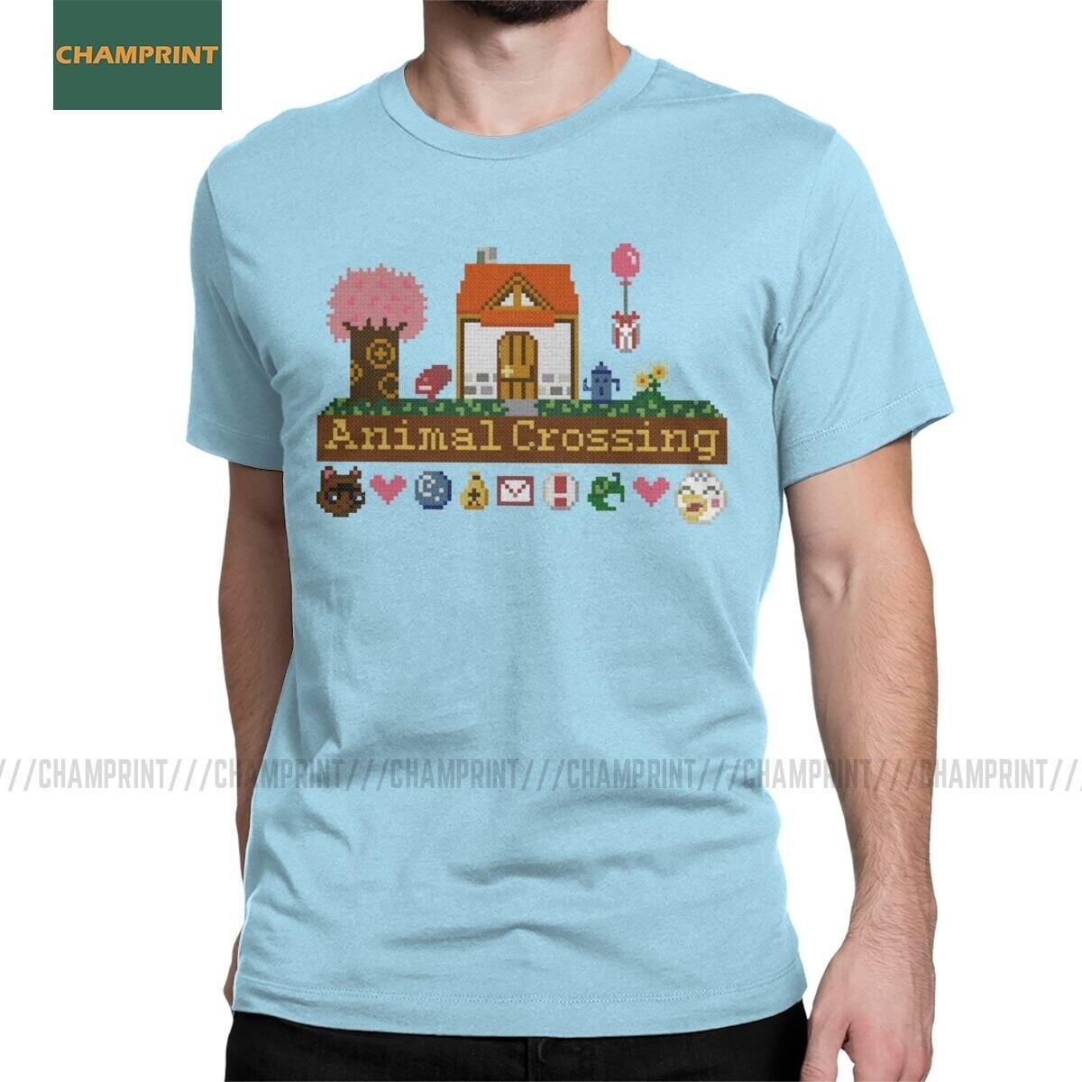 Animal Crossing 8-bit House Shirt, Sky Blue / XL