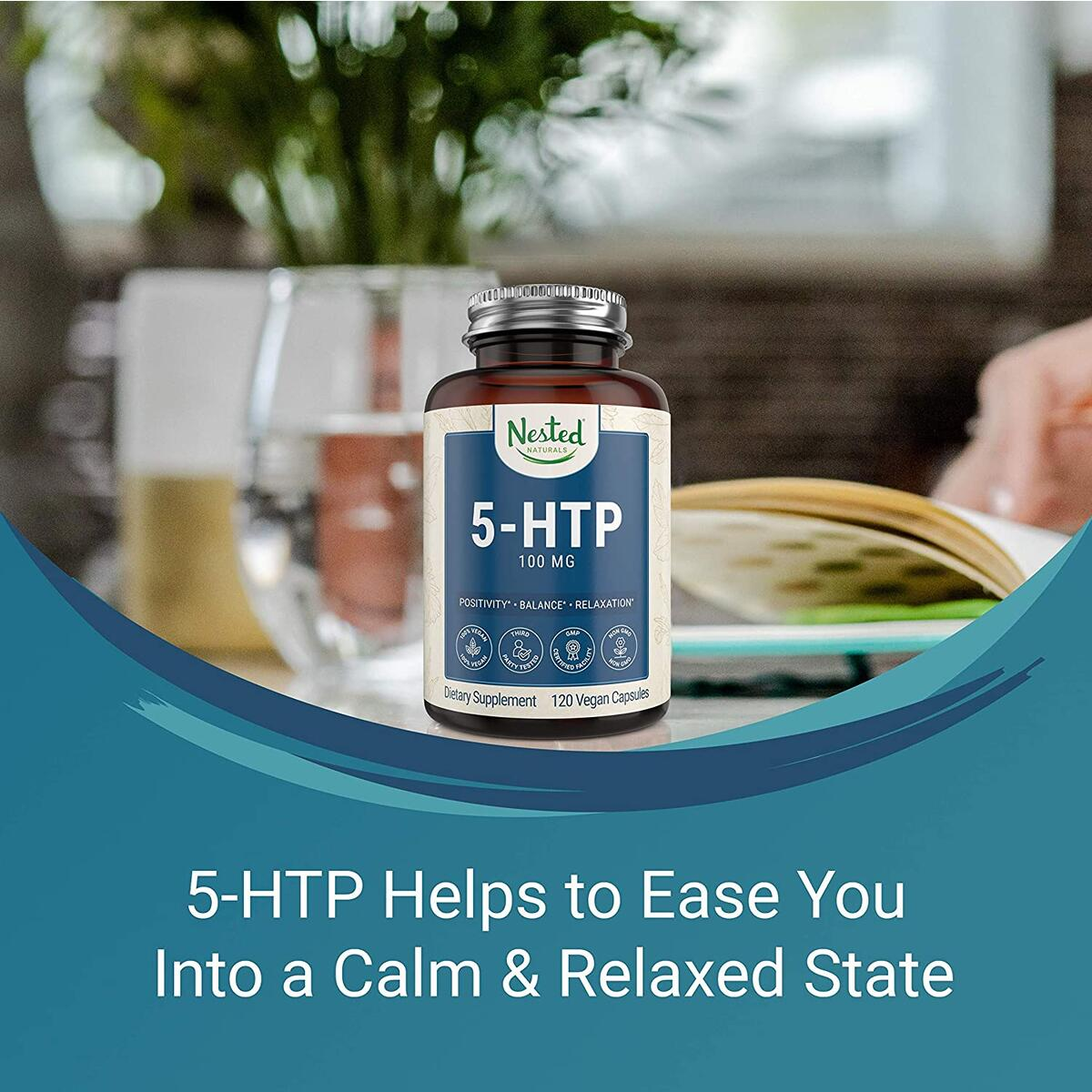 Nested Naturals 5-HTP 100mg | Sleep, Relaxation, Mood Support | Naturally Sourced Serotonin Booster
