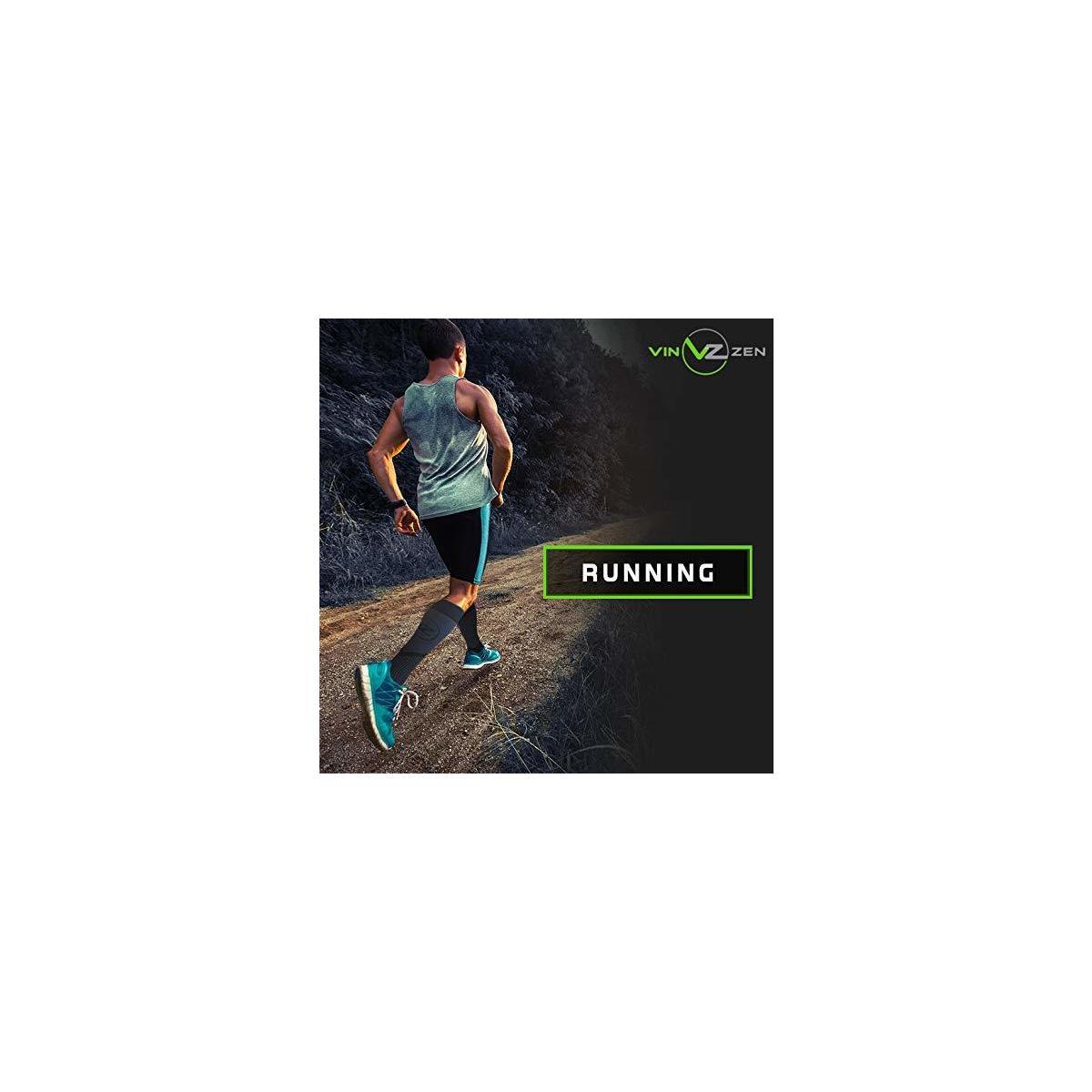 Vin Zen Compression Socks Women & Men (20 30 mmhg) Running Socks Athletic Gear Knee High Stockings, Leg Support 1Pair