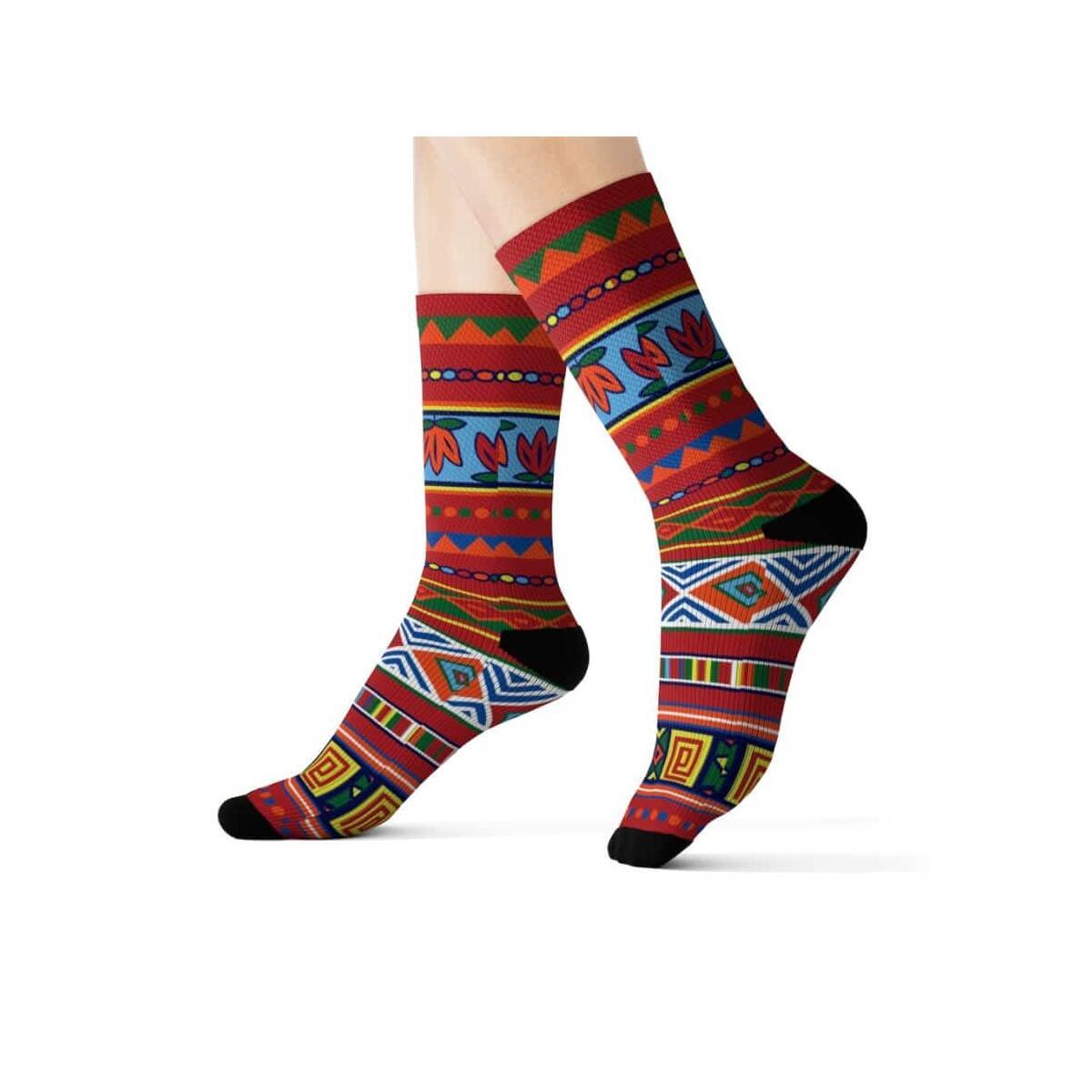 African Lotus Sublimation Socks