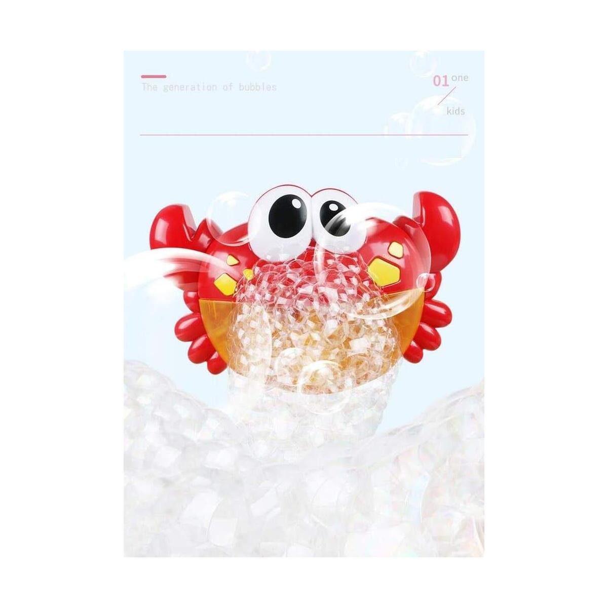 Bubble Machine Red Plastic Crab Automated Spout Music Machine Bubble Maker Baby Bath Shower Fun Toy
