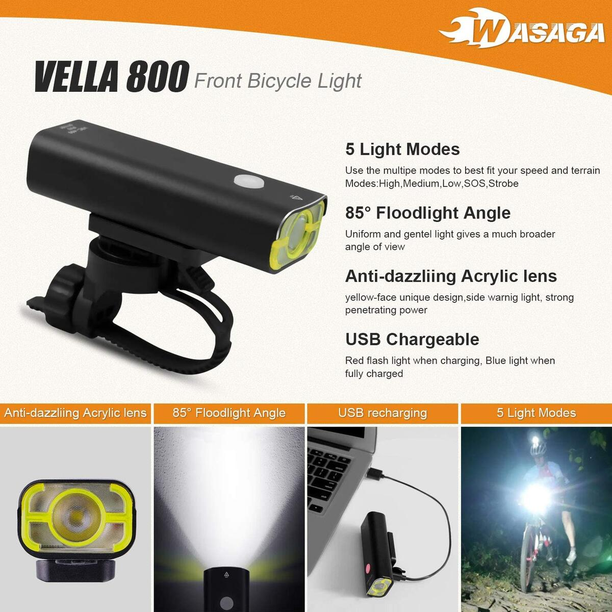 WASAGA Vella 800 Bike Light Front and Back Bicycle Lights USB Headlight & Tail Lights for Commuters, Road Cyclists & Mountain Bikers