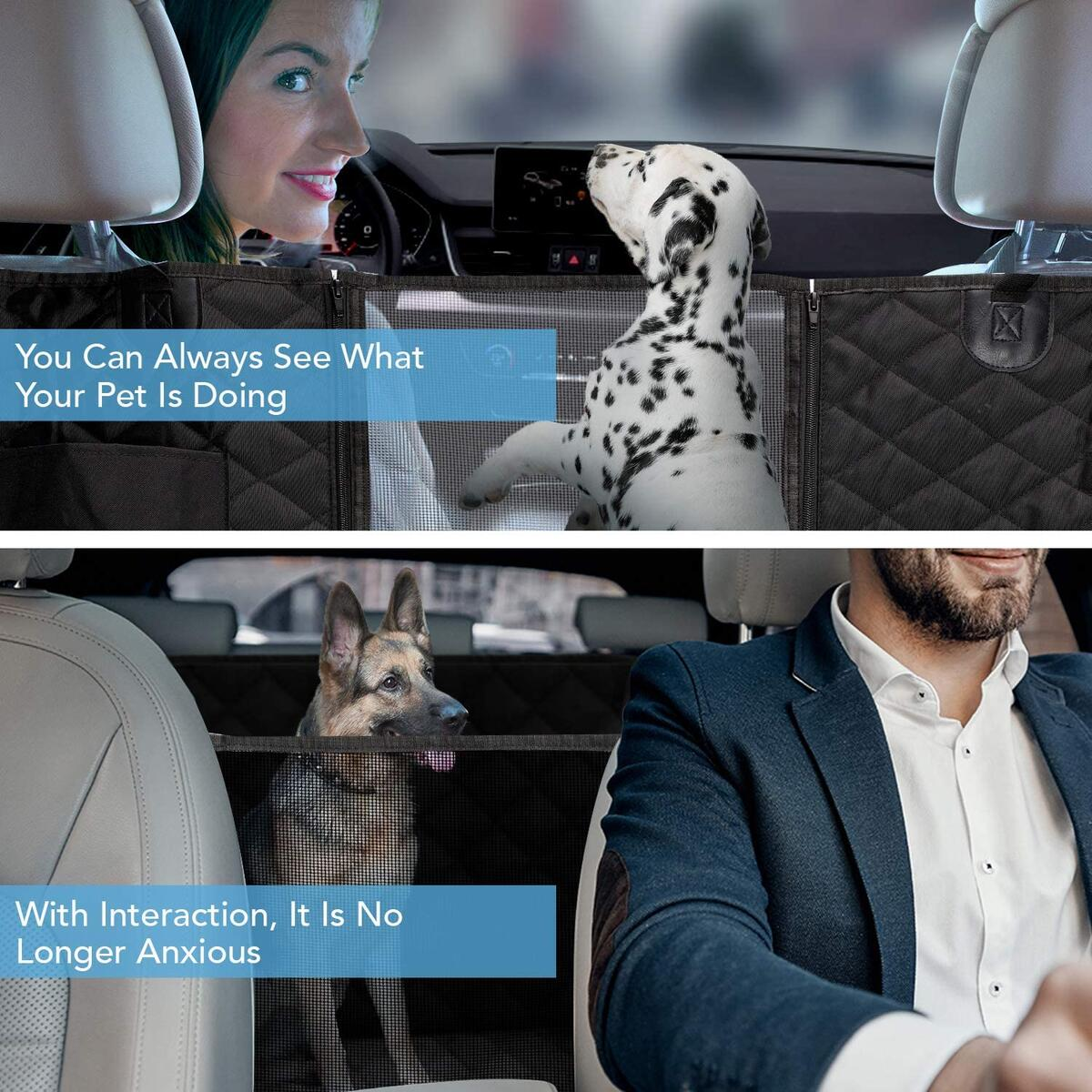 HOUSE DAY Dog Back Seat Cover Protector 900D with Mesh Viewing Window & Storage Pocket, Waterproof Non-Scratch Dog Car Hammock for Backseat Protection,Pet Car Seat Covers for Cars Trucks SUV