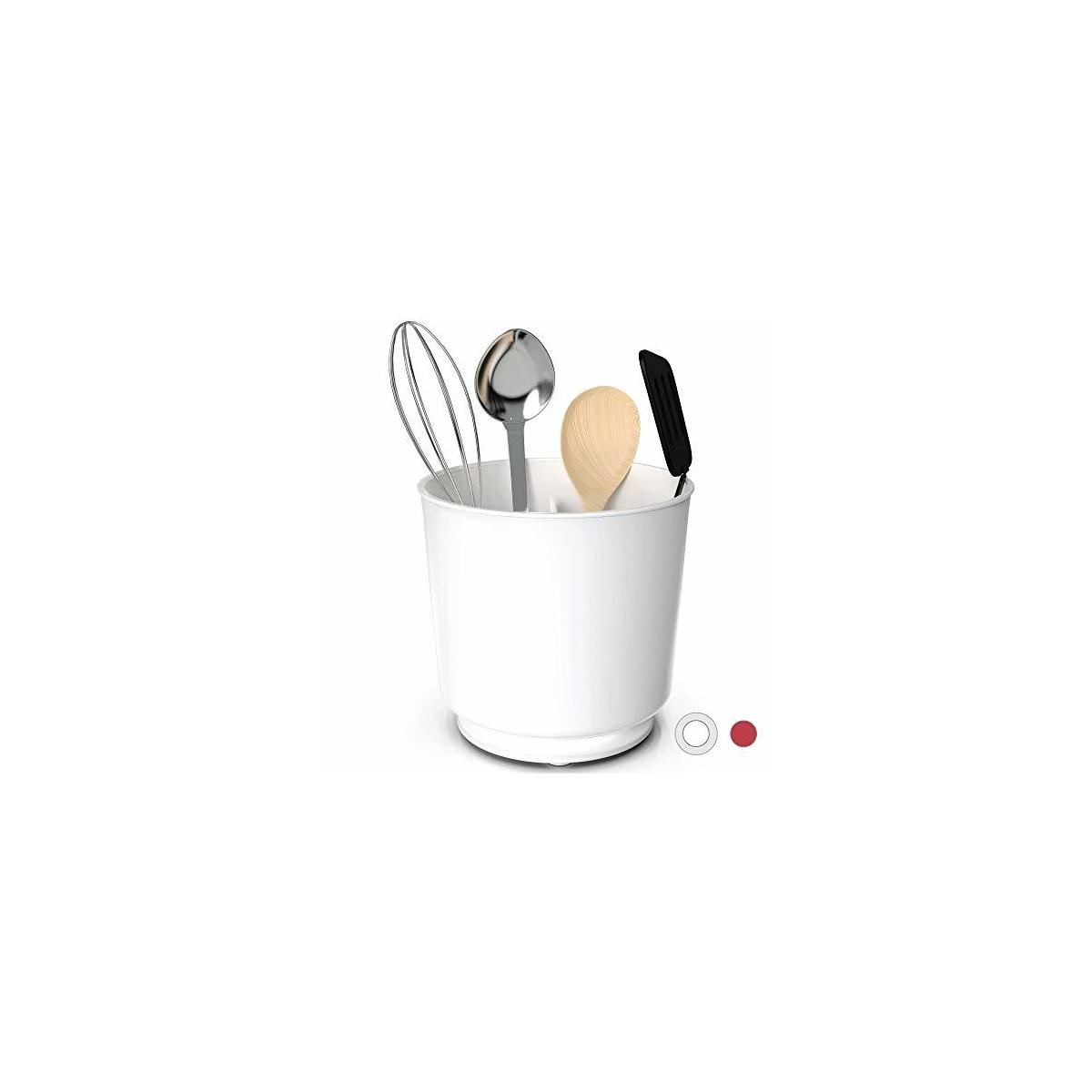 Extra Large Rotating Utensil Holder Caddy with Sturdy No-Tip Weighted Base, Removable Divider, And Gripped Insert | Rust Proof and Dishwasher Safe by Cooler Kitchen