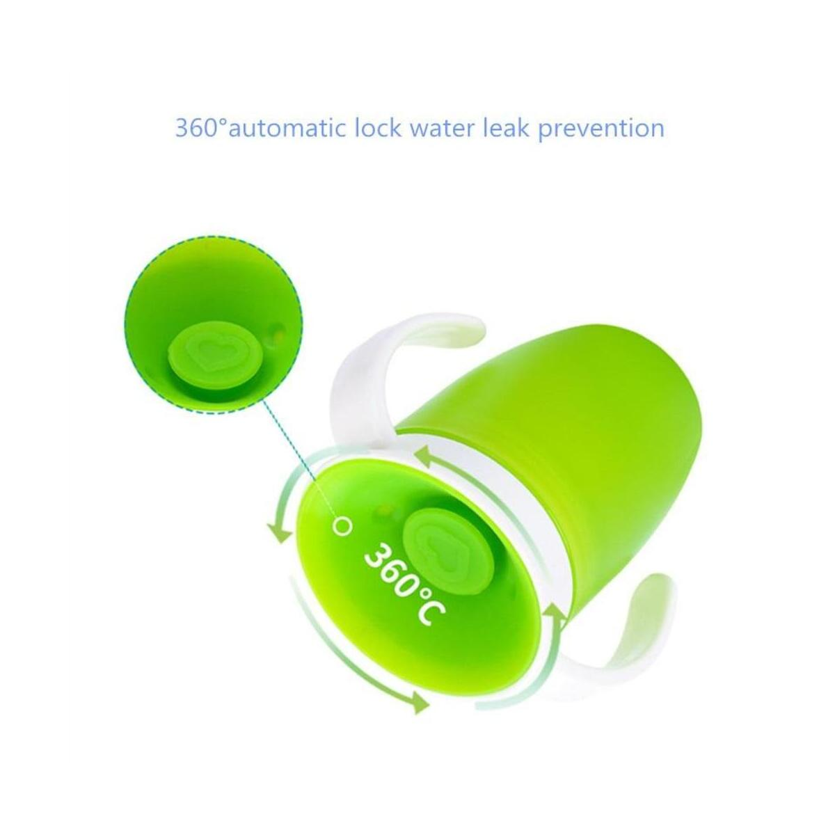 360 Degree Flip Lid Training Feeding Safe Leak-proof Double Handle Baby Learning Drinking Water Cup Bottle