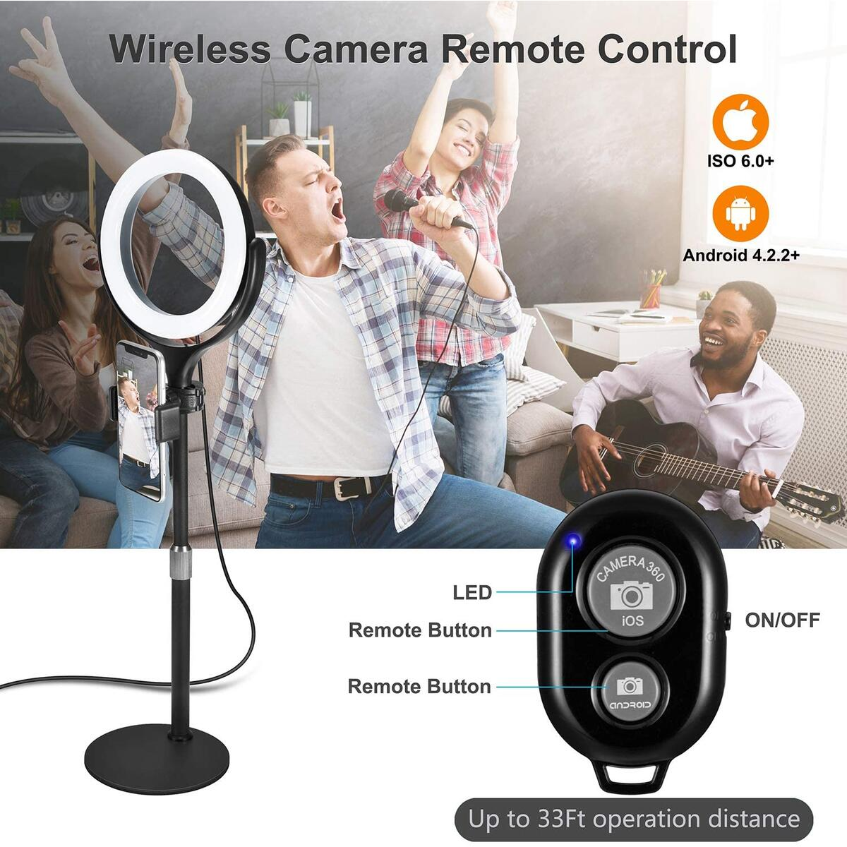 Selfie Ring Light with Stand & Phone Holder, Wixann Desktop Dimmable Led RingLight for Makeup/Photography/Live Stream/YouTube Video Recording/TIK Tok, Compatible with iPhone and Android