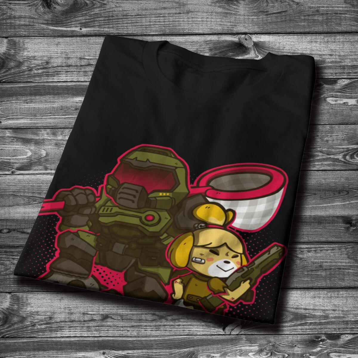 Animal Crossing Bug Off Isabelle and Doom Guy Shirt, Black / XXXL