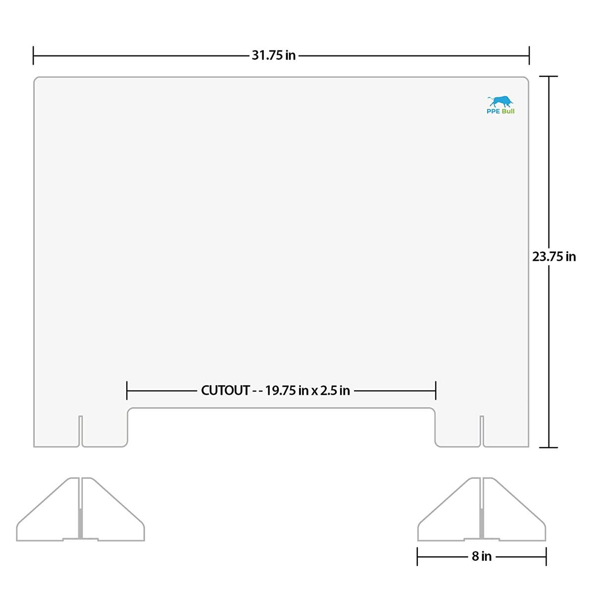 Sneeze Guard for Desk, Counter and Table - 2 Pack, 32W x 24H, 3/16 Thickness, Freestanding Clear Acrylic Shield for Business and Customer Safety, Barrier Against Sneezing & Coughing
