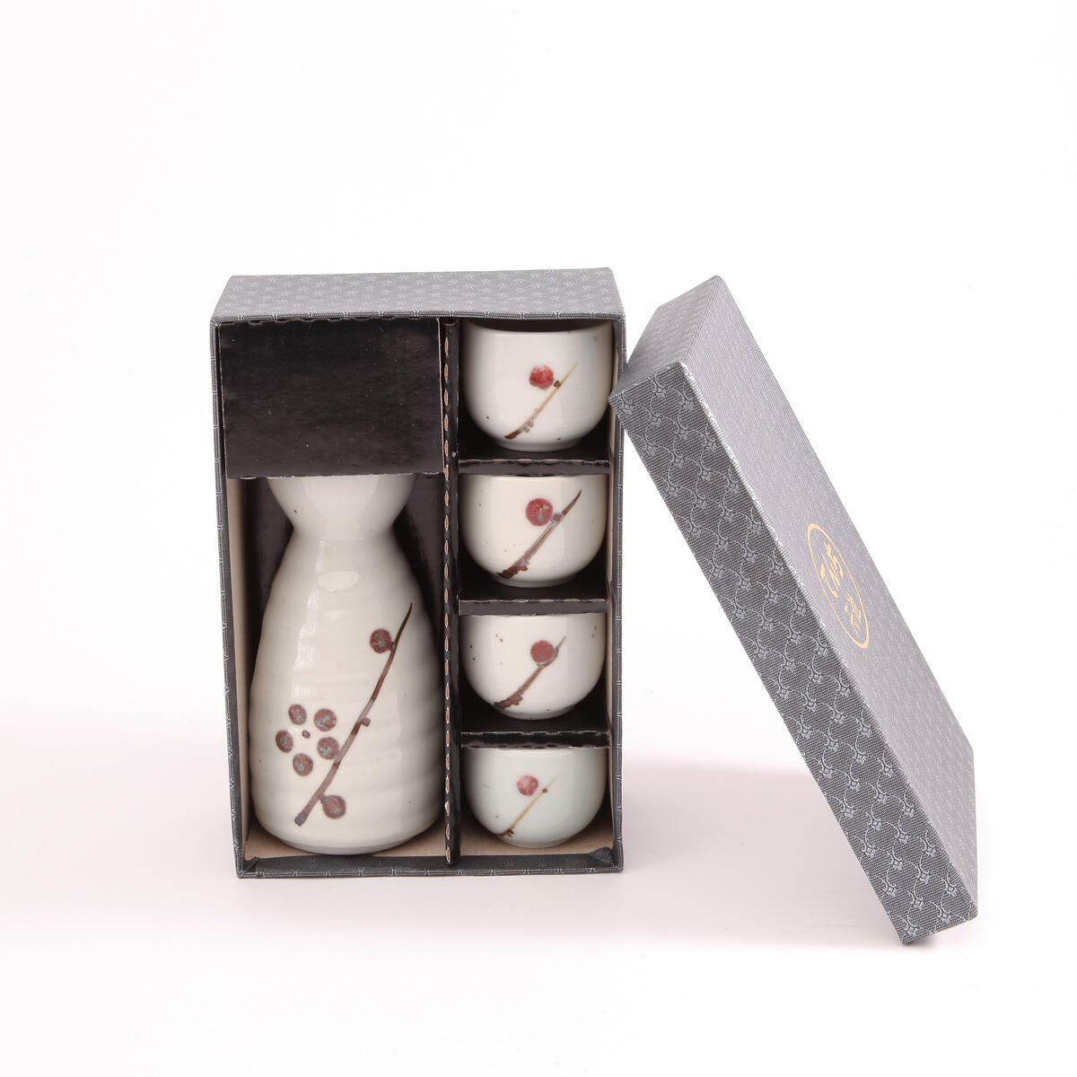 LakeTian Ceramic Japanese Sake Set of 5, Hand Painted, variety colors (Black Fish)