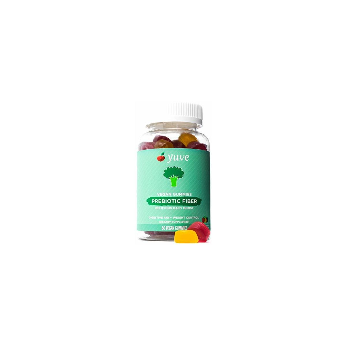 Yuve Vegan Prebiotic Gummies Supplement - 3g All Natural Fiber from Chicory Root & Inulin Chewables for Adults & Kids - Helps with Digestive Health & Constipation - Non-GMO, Gelatin & Gluten Free 60ct