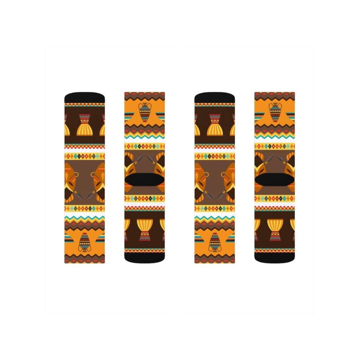 African Djembe Masks Sublimation Socks