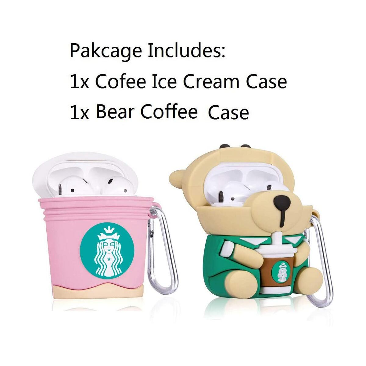 (2 Pack) Pink Coffee Ice Cream + Bear Cartoon Case Compatible with Airpods, G.P Cute Cool Design for Girls Women Kids Teens, Accessories Protective Character Skin Soft Silicone Cover for Air pods 2/1
