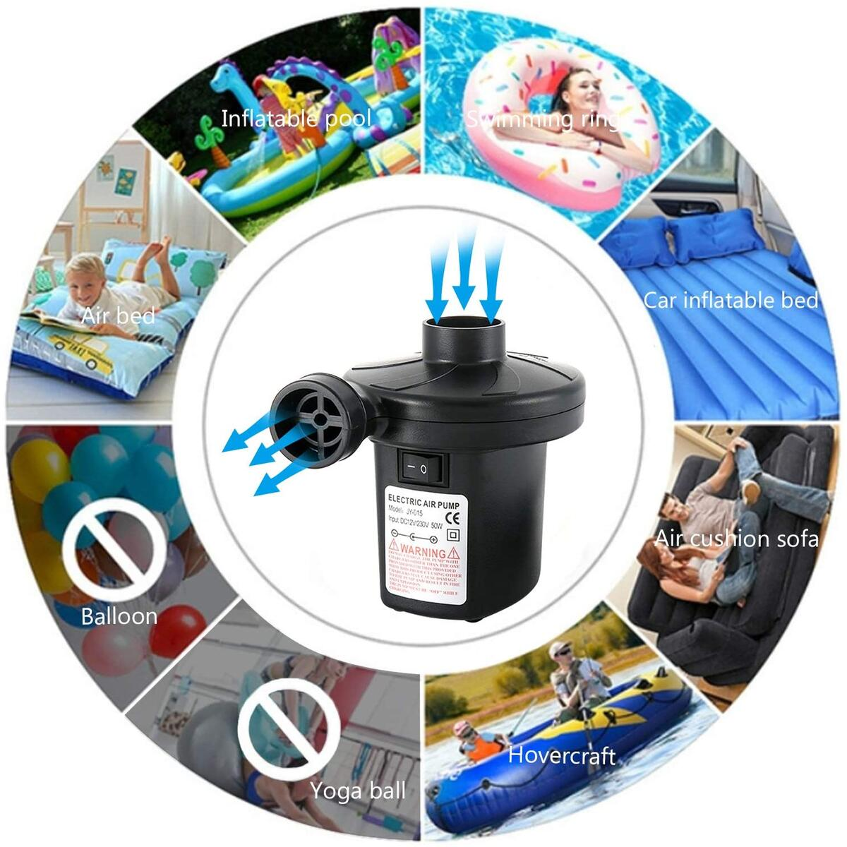 Electric Air Pump for Pool Inflatables - Air Mattress Quick-Fill Portable Pump with 3 Nozzles, Inflator/Deflator Pumps for Pool Floats, Inflatable Boats, Blow up Pool Chairs Beds (AC 110V/DC 12V)