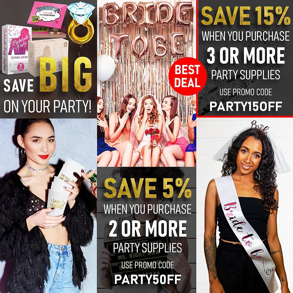 Bachelorette Party Decorations Set - Complete Engagement and Bridal Shower Supplies Kit with Bride To Be Banner, Rose Gold Sash, Bride Tribe Tattoos, Drinking Card Games, Photo Booth Props, Balloons