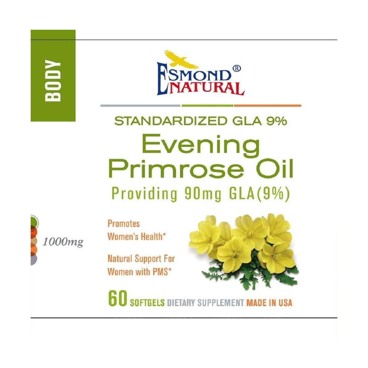 Esmond Natural: Evening Primrose Oil (Promotes Women Health, Natural Support for Women PMS), GMP, Natural Product Assn Certified, Made in USA-1000mg, 60 Softgels