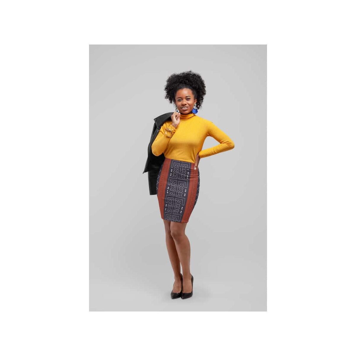 African Bogolan Mud Cloth women's Pencil Skirt, L / 4 oz.
