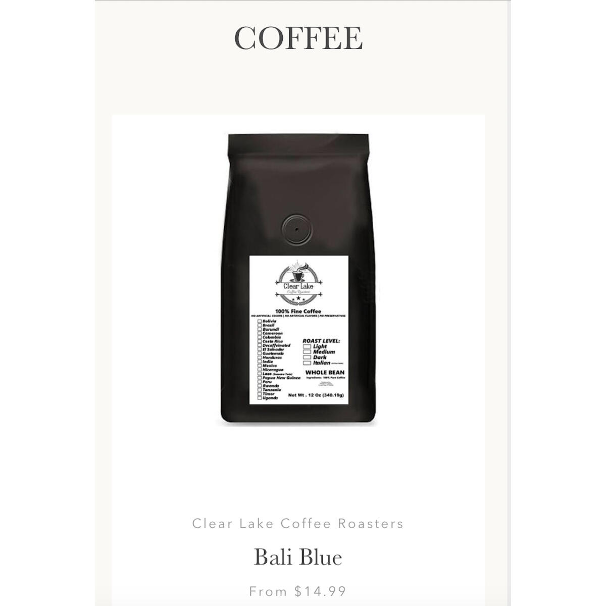 Bail Blue - 12 oz standard grind