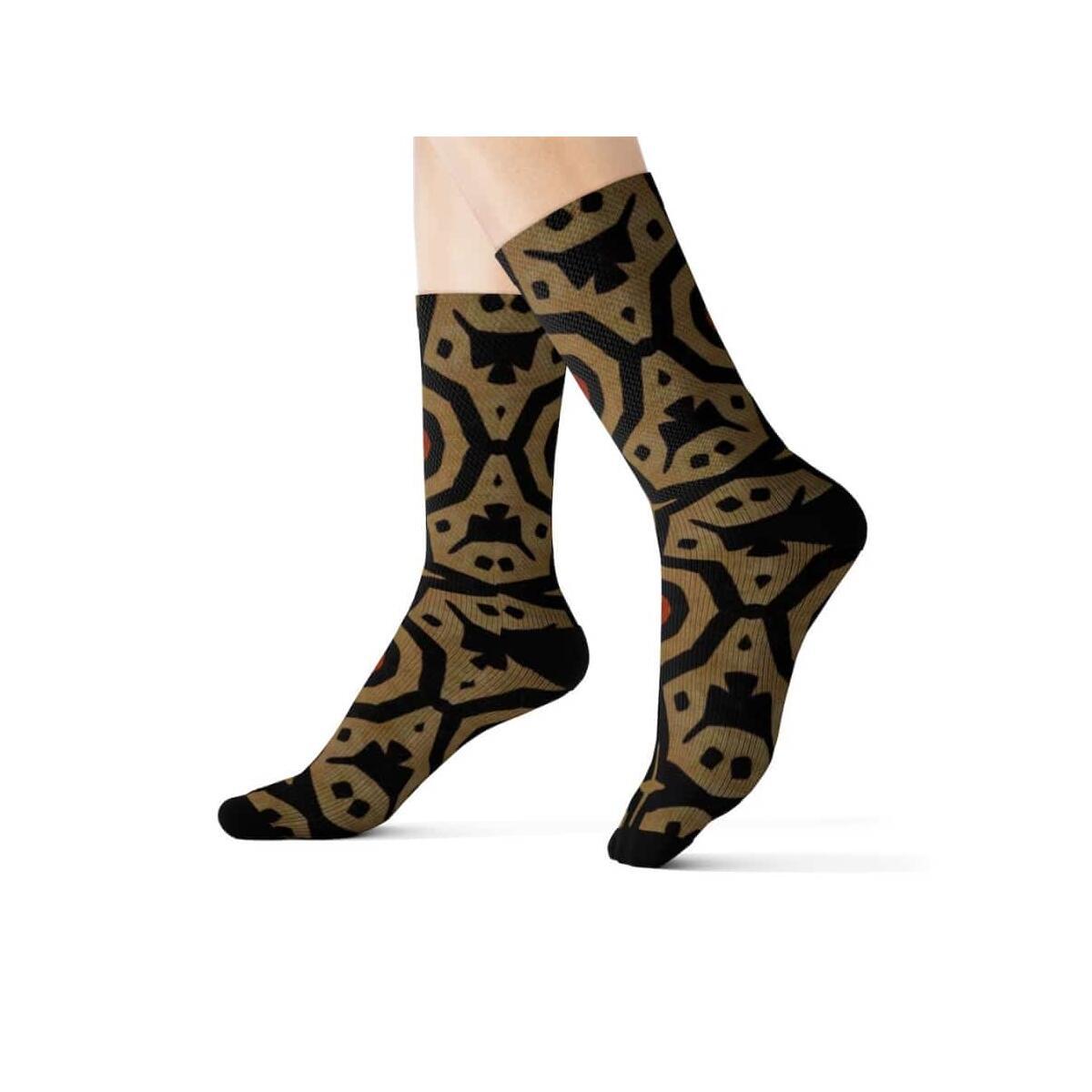 Brown Bogolan Star Circle Sublimation Socks