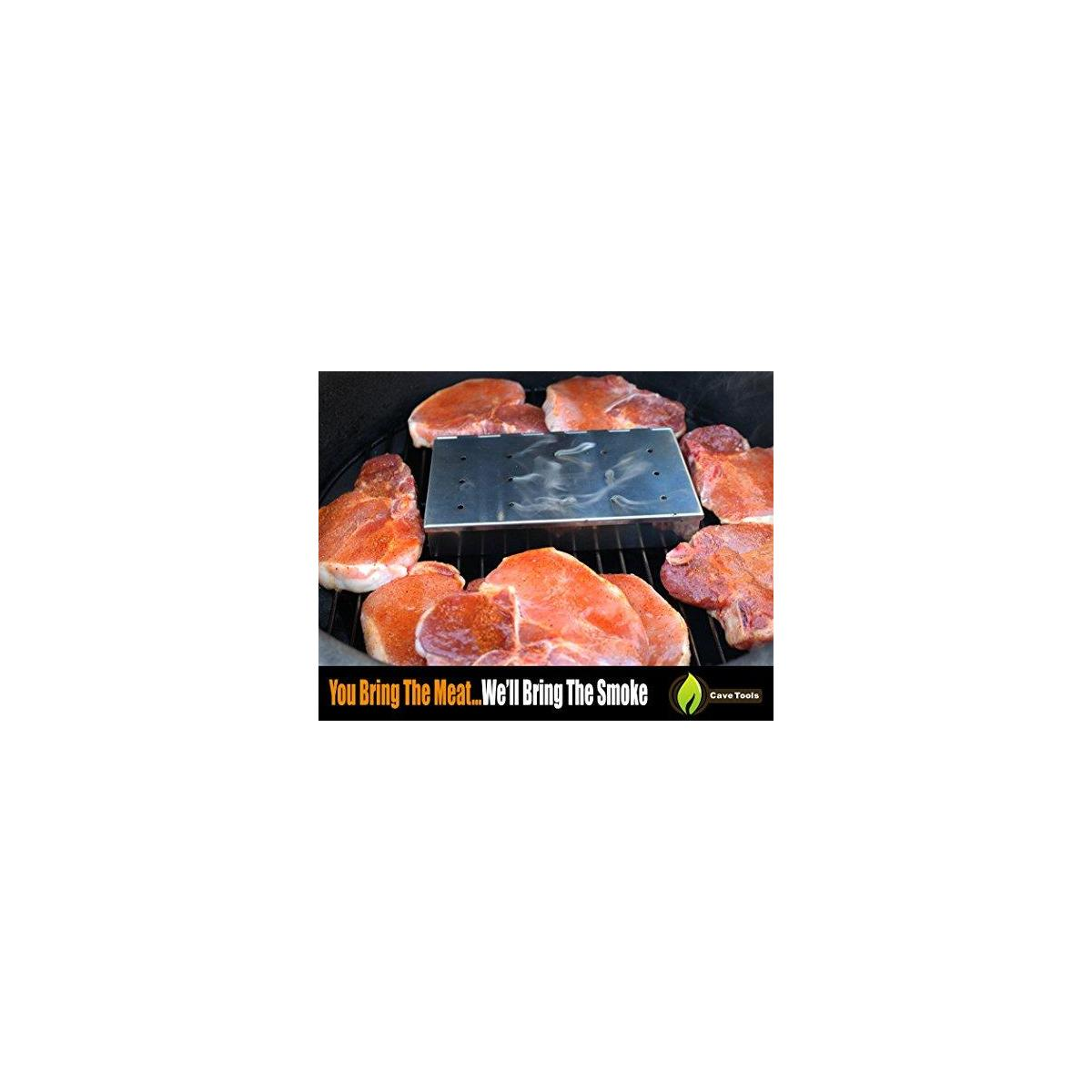 Meat Claws - Stainless Steel Pulled Pork SHREDDERS + Smoker Box Maximum Wood Chip Capacity - Charcoal & Gas Grill BBQ Smoking Hinged Lid - Best Grilling Accessories & Barbecue Utensils