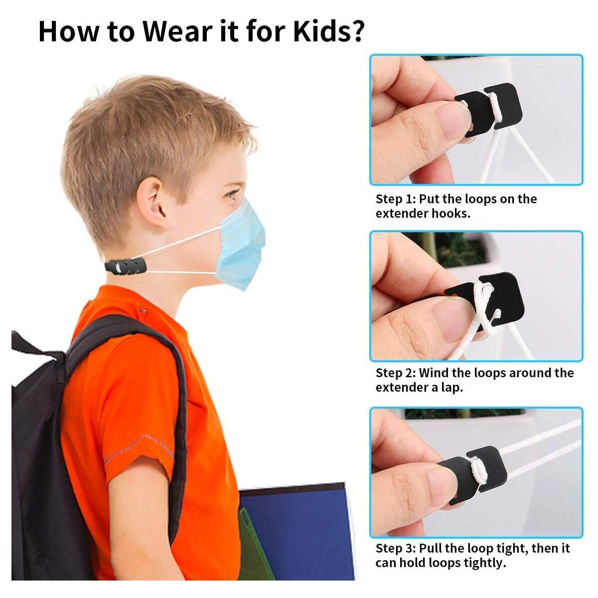 Silicone Mask Strap Extender, 10pcs Adjustable Anti-Slip Mask Extender, Relieve Ear Pain, Anti-Tightening Soft Ear Saver Protector, Elastic Ear Strap Hook Holder for Kids & Adults - Black